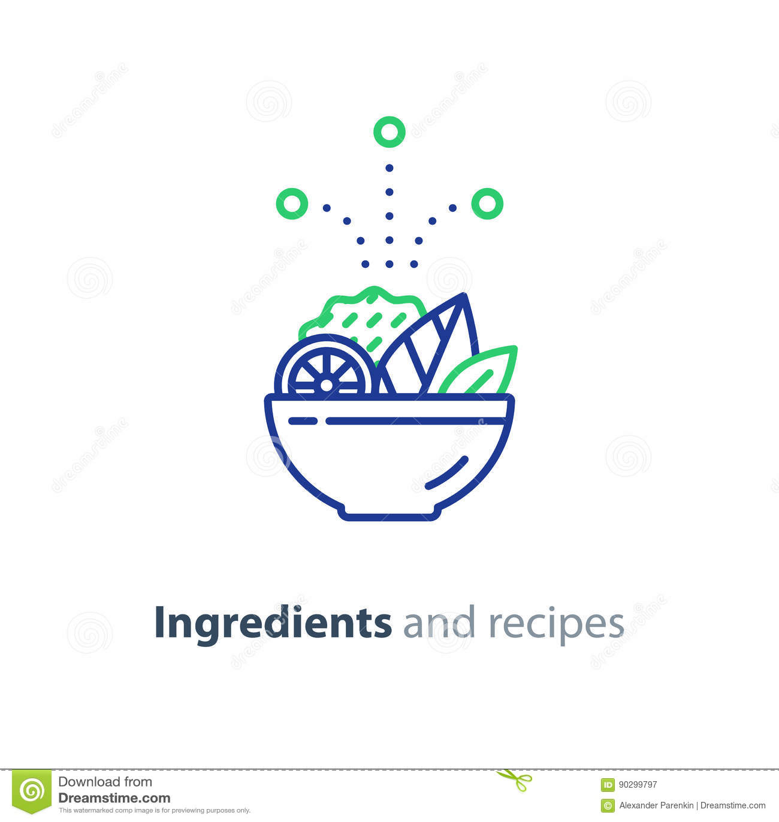 Ricetta ed ingredienti, linea icona, alimento dell insalatiera di dieta