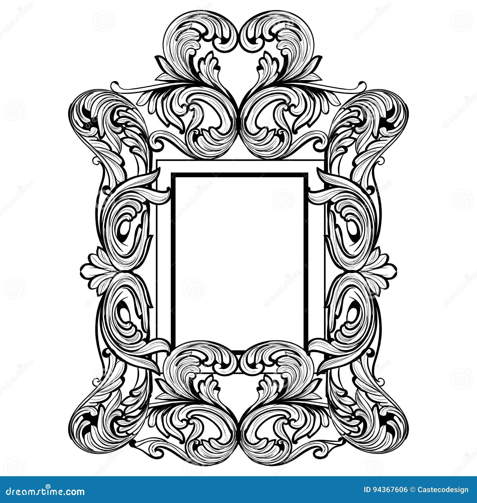 Wilko baroque mirror silver 87x62cm -  Rich Baroque Mirror Frame Vector French Luxury Rich Intricate