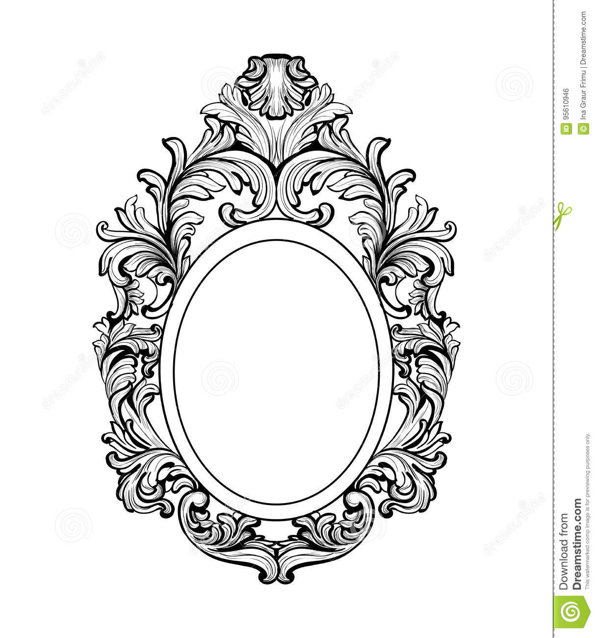 Rich Baroque Mirror Frame Vector French Luxury Rich