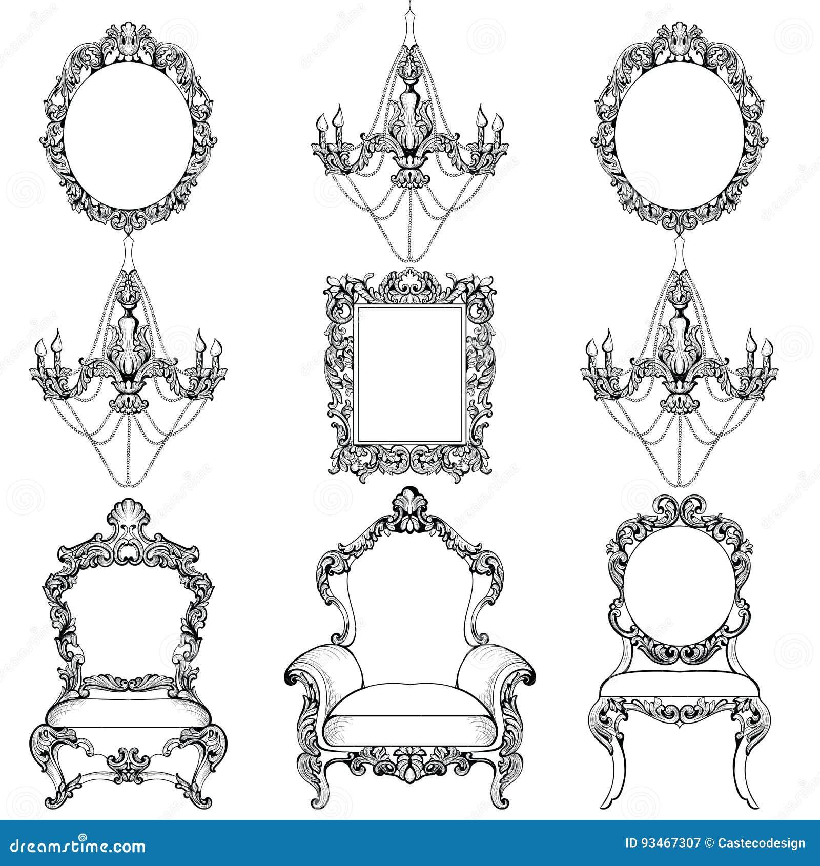 Rich Baroque Rococo-Möbel Und -rahmen Eingestellt Der Französische ...