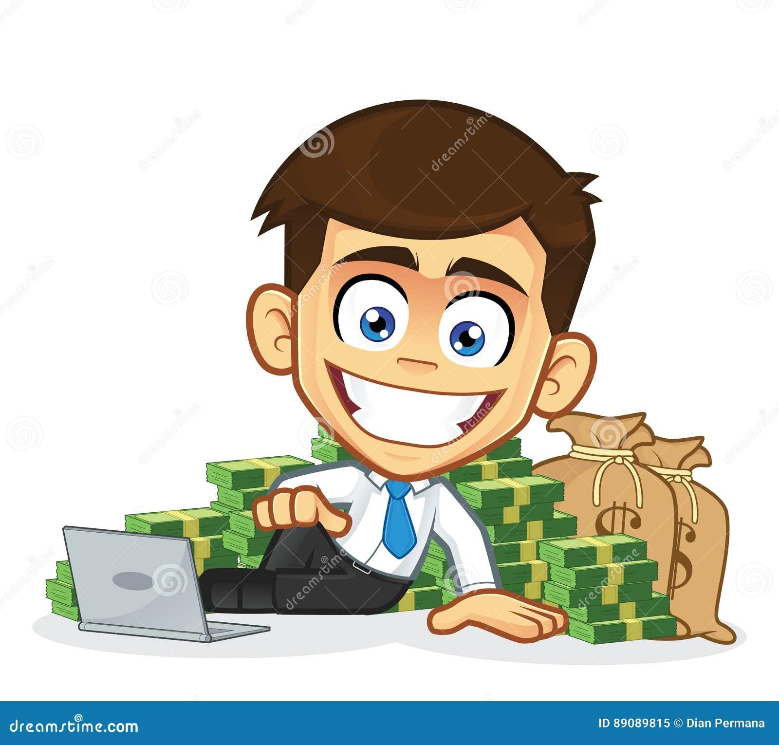 Rich Businessman Lie Around Cash