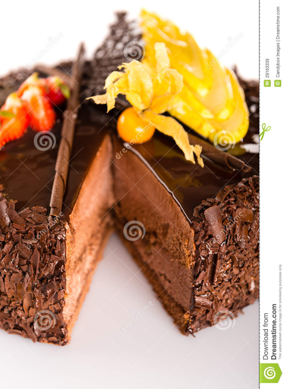 Rich Chocolate Cake With Fruit Decoration Stock Image