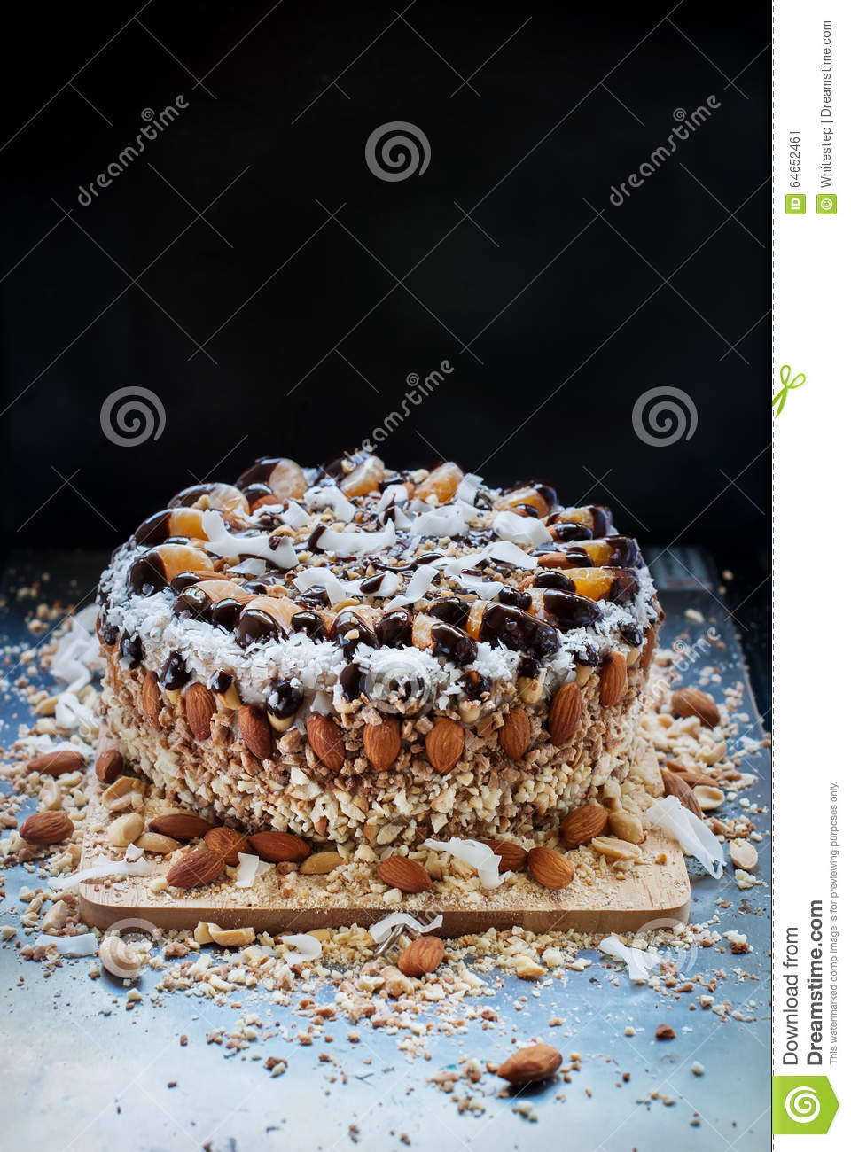 Christmas cake decoration with fruit and nuts - Rich Christmas Cake Decorated With Fruits Nuts And Crumbs