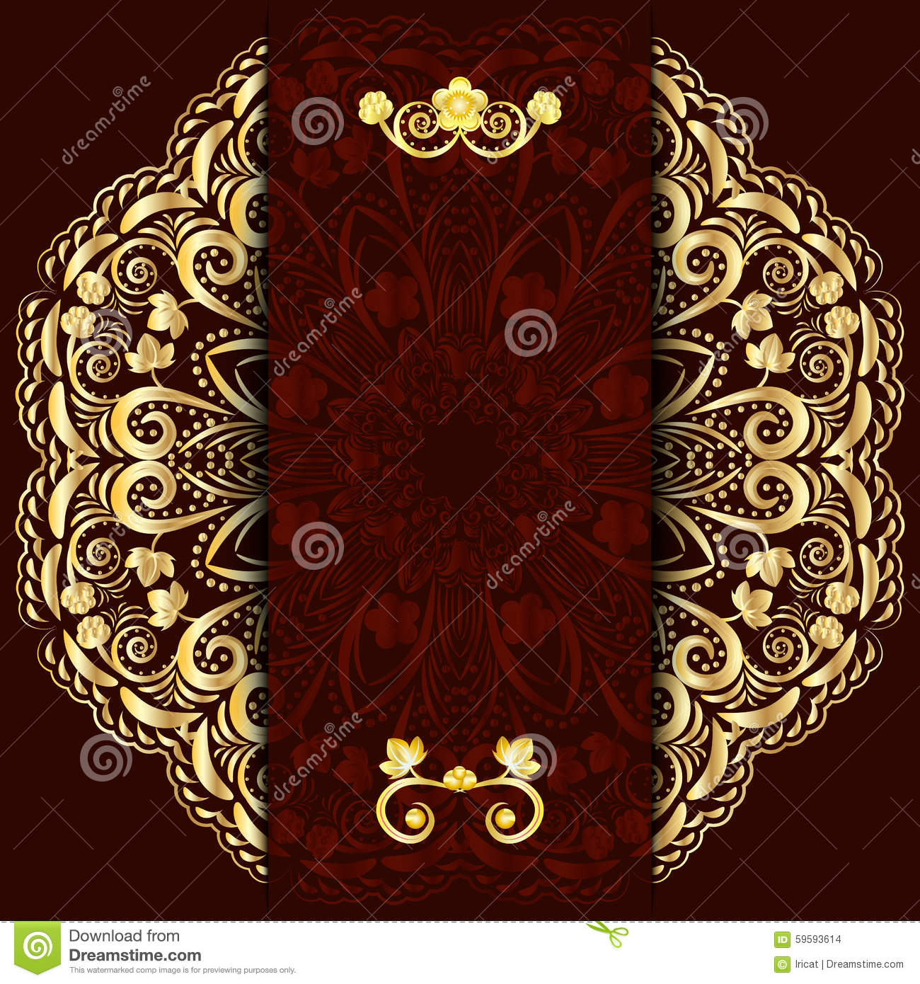 Rich Dark Background With Gold Floral Mandala Template