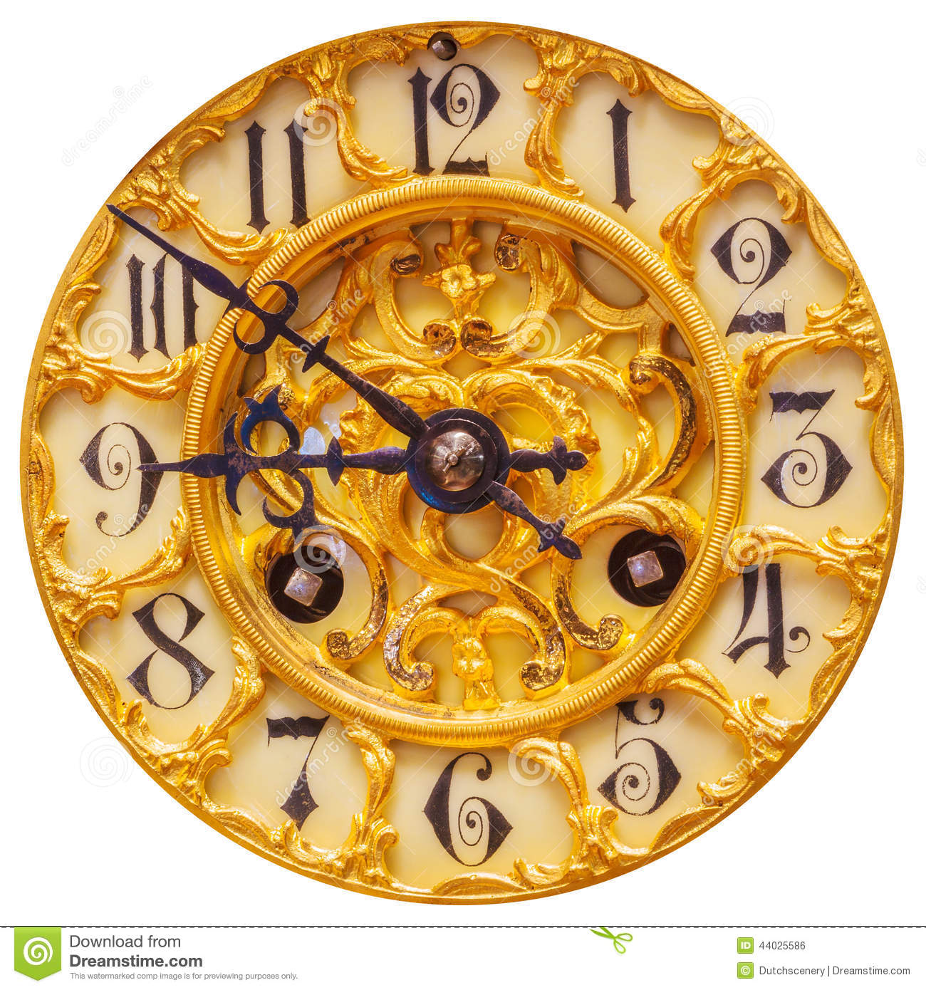 Rich Decorated Golden Clock Face Isolated On White Stock