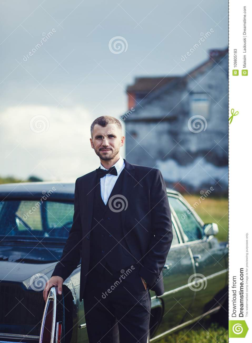 Rich Groom At Wedding Day Near Car Stock Image - Image of beauty ...