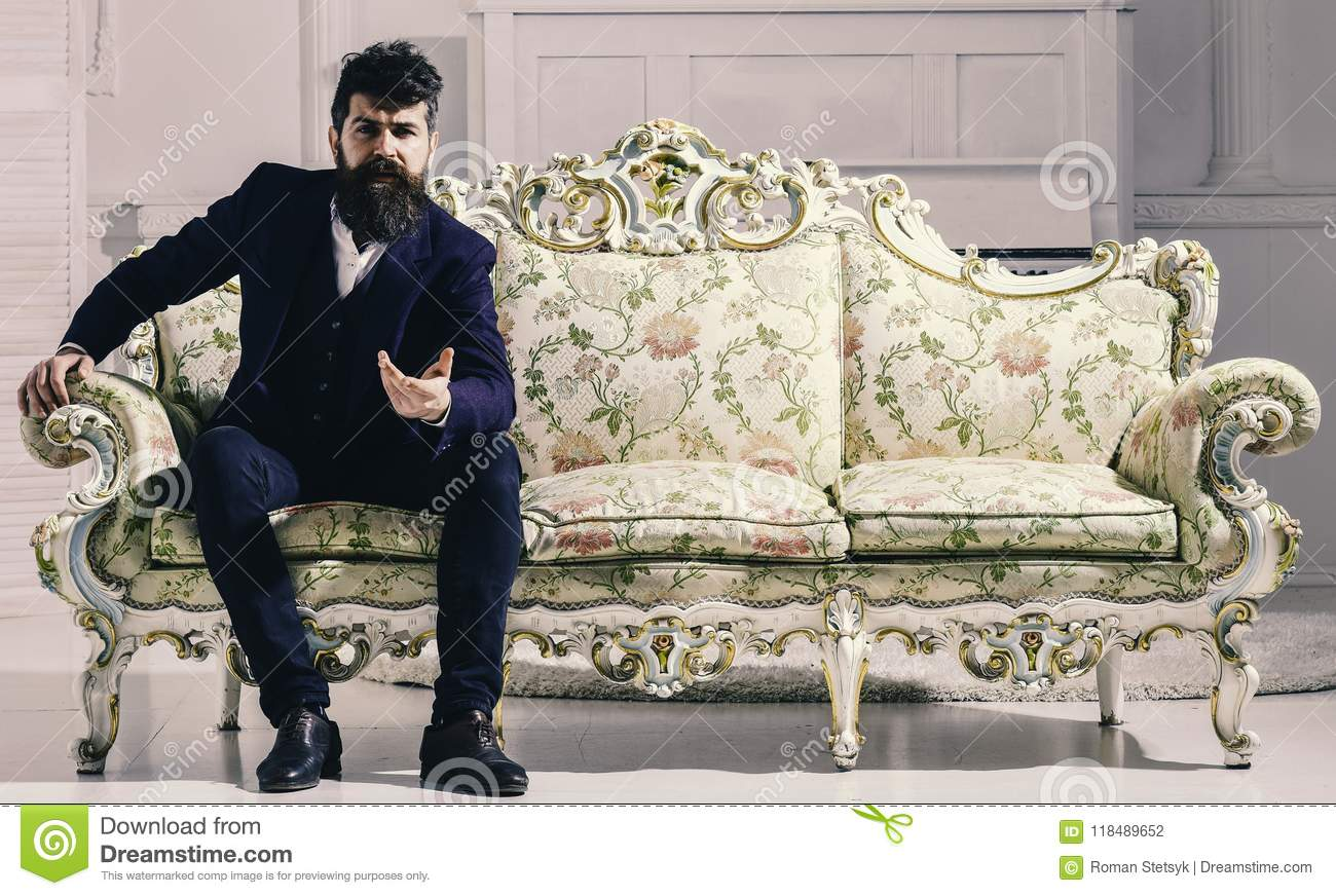 Rich Man. Fashion And Style Concept. Man With Beard And Mustache ...