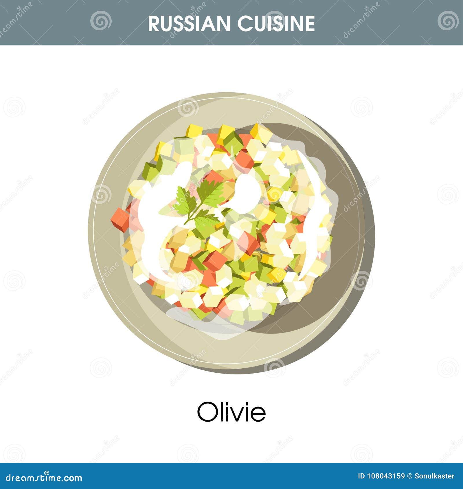 Rich Olivie sallad klädde med majonnäs från rysk kokkonst