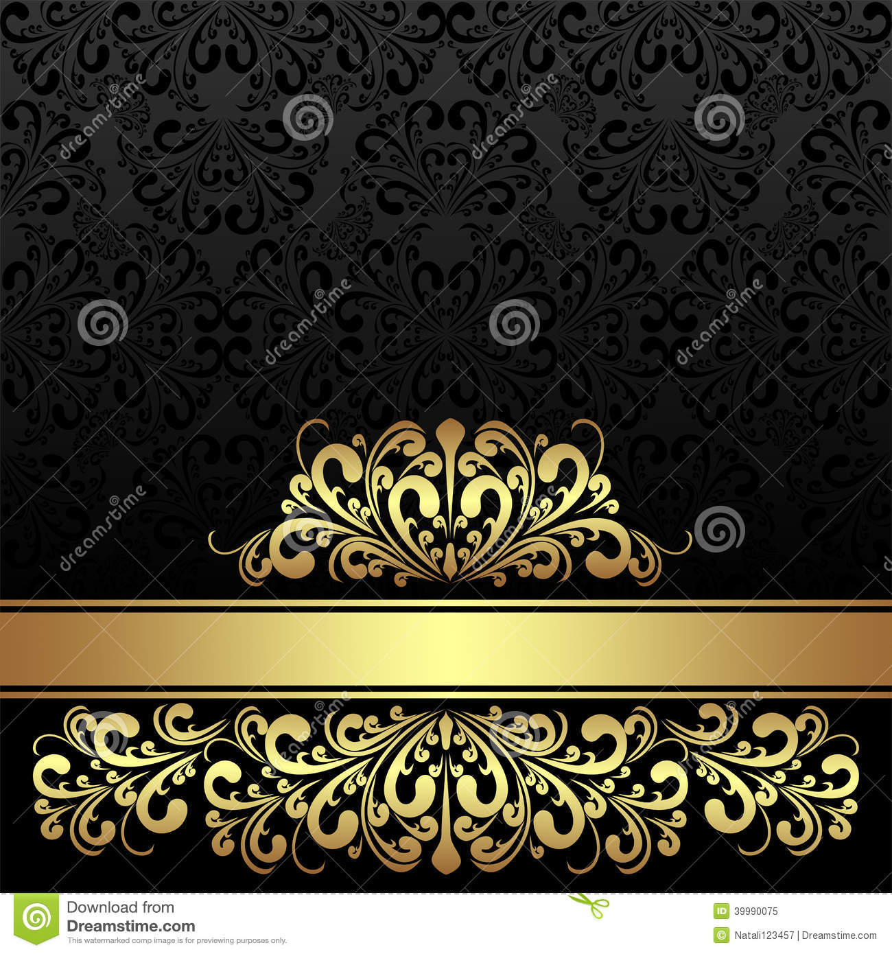 Rich Ornamental Black Background With Golden Royal Border