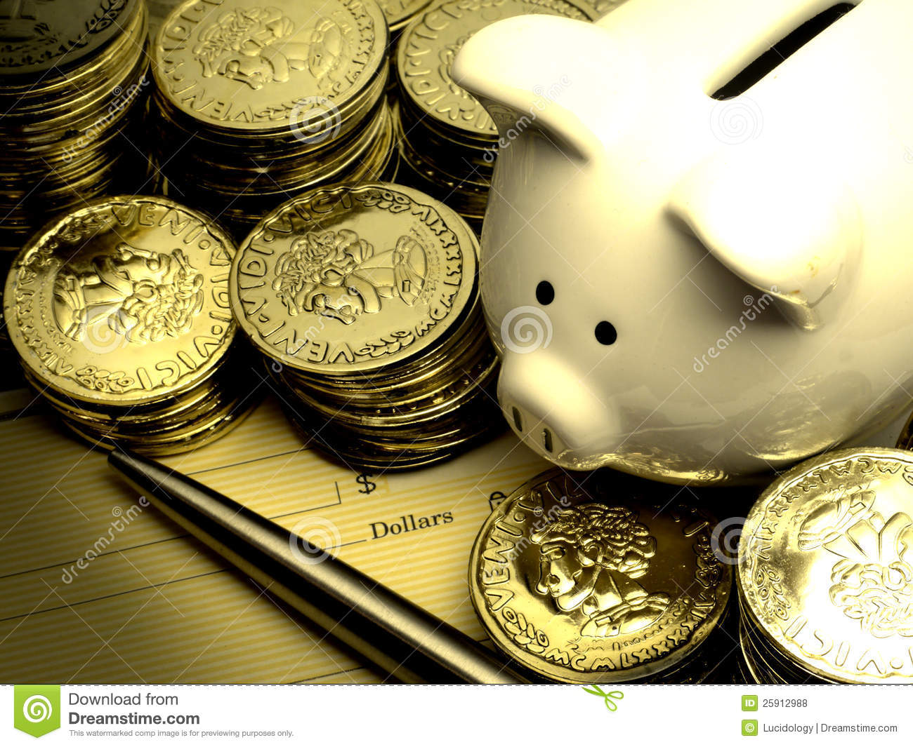 Rich Piggy Bank With Gold Coins Money Stock Photo