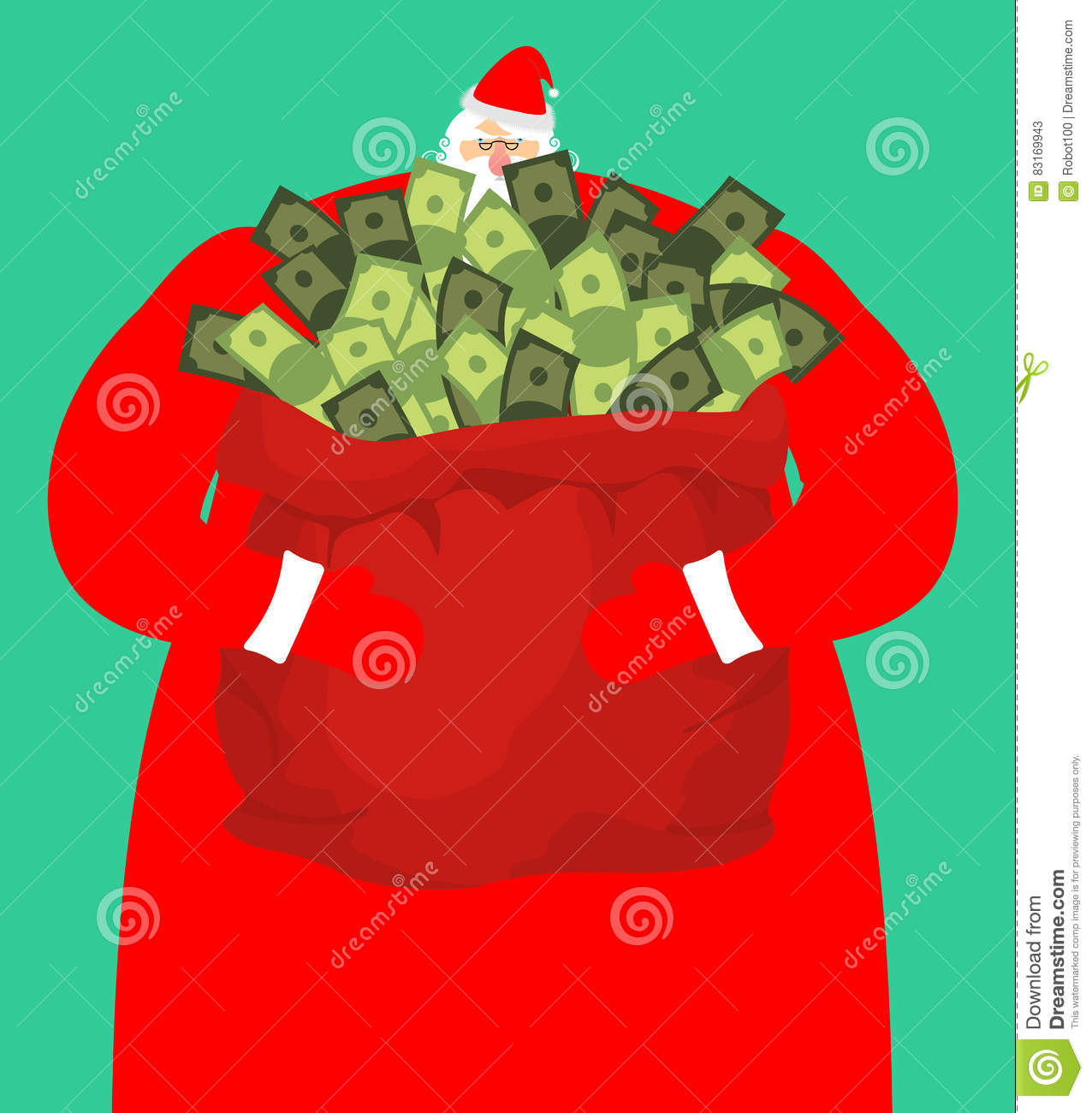 Rich santa and red bag with money claus sack of cash