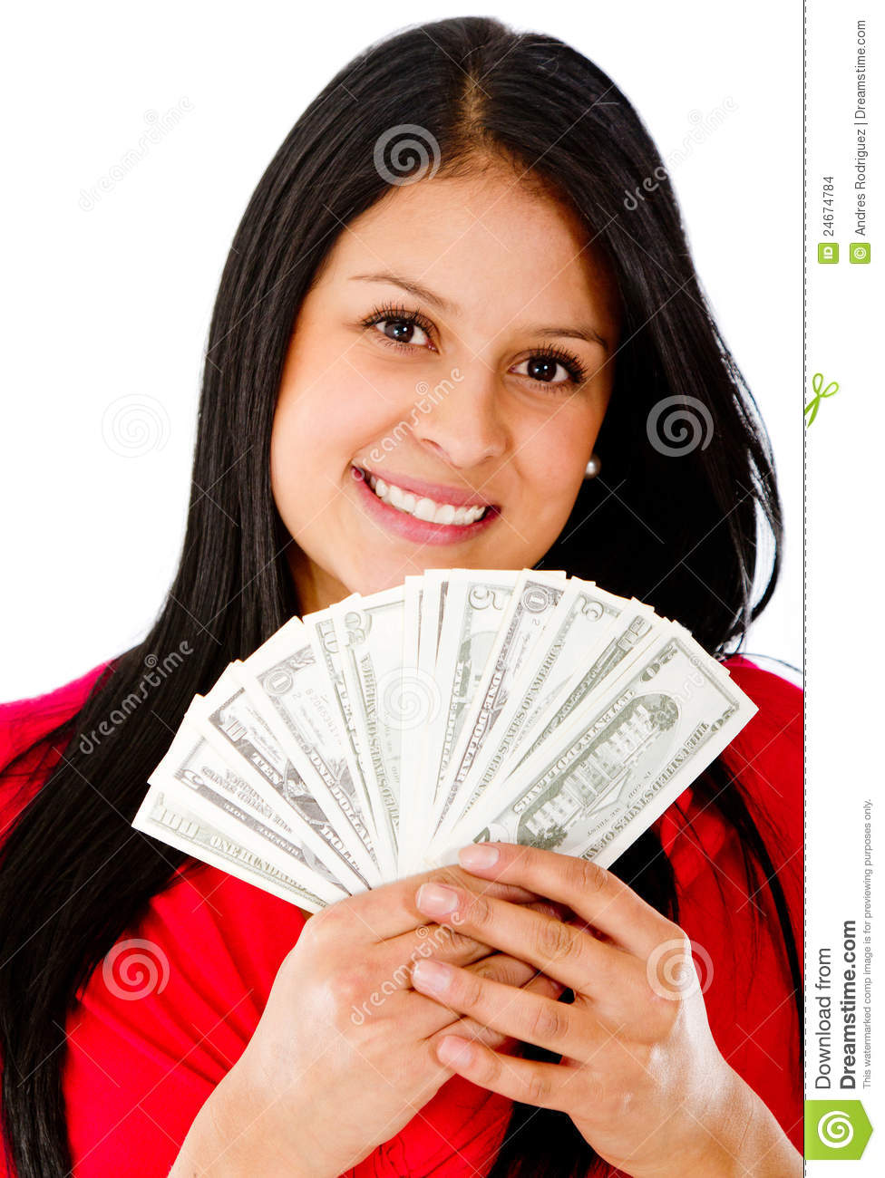 Rich woman holding a bunch of bills - isolated over a white background ...