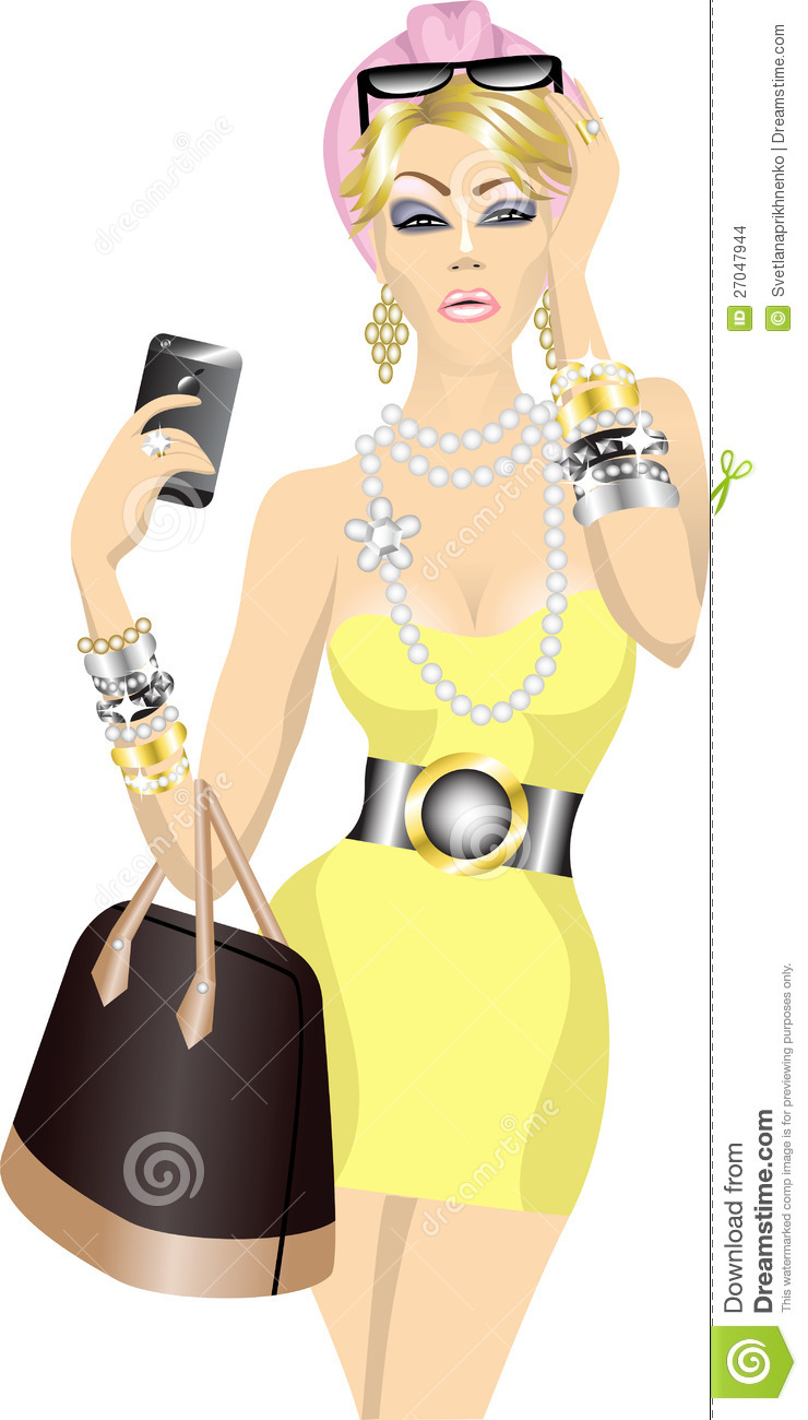Rich Woman Clipart Rich woman with bag and mobile