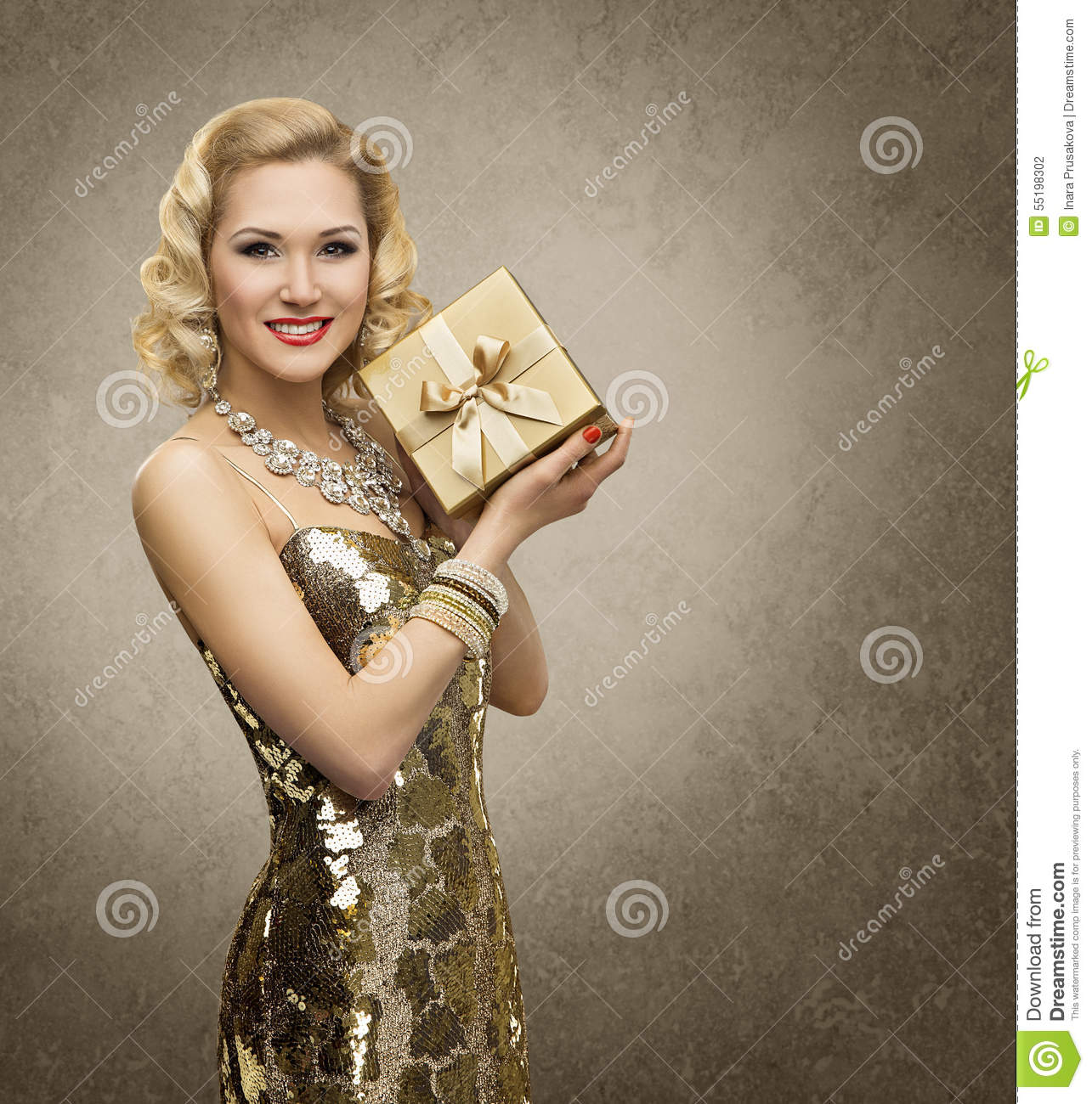 Rich woman with gift box luxury retro girl shining gold for Luxury gift for women