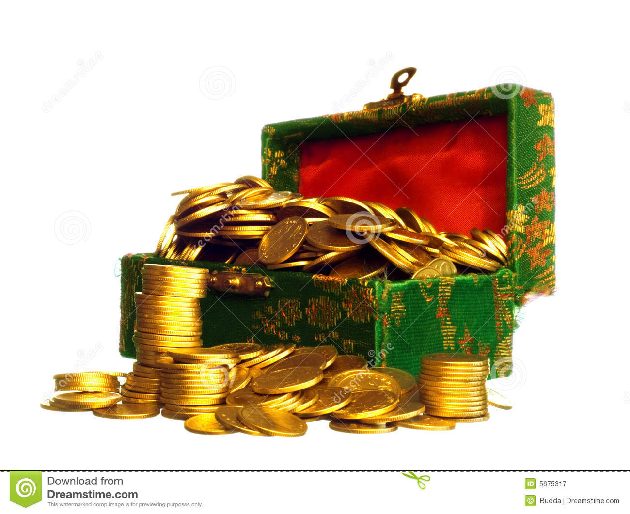 Riches Gold Coins In A Chest Royalty Free Stock