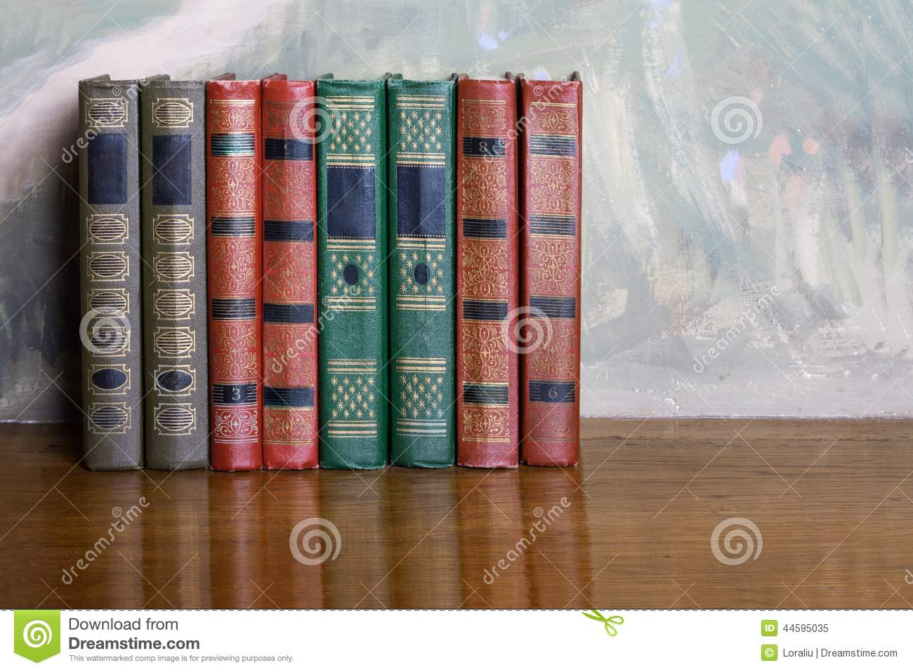 Richly decorated volumes of books with a gold lettering stock photo image 44595035 - Beautiful photoshelves ...