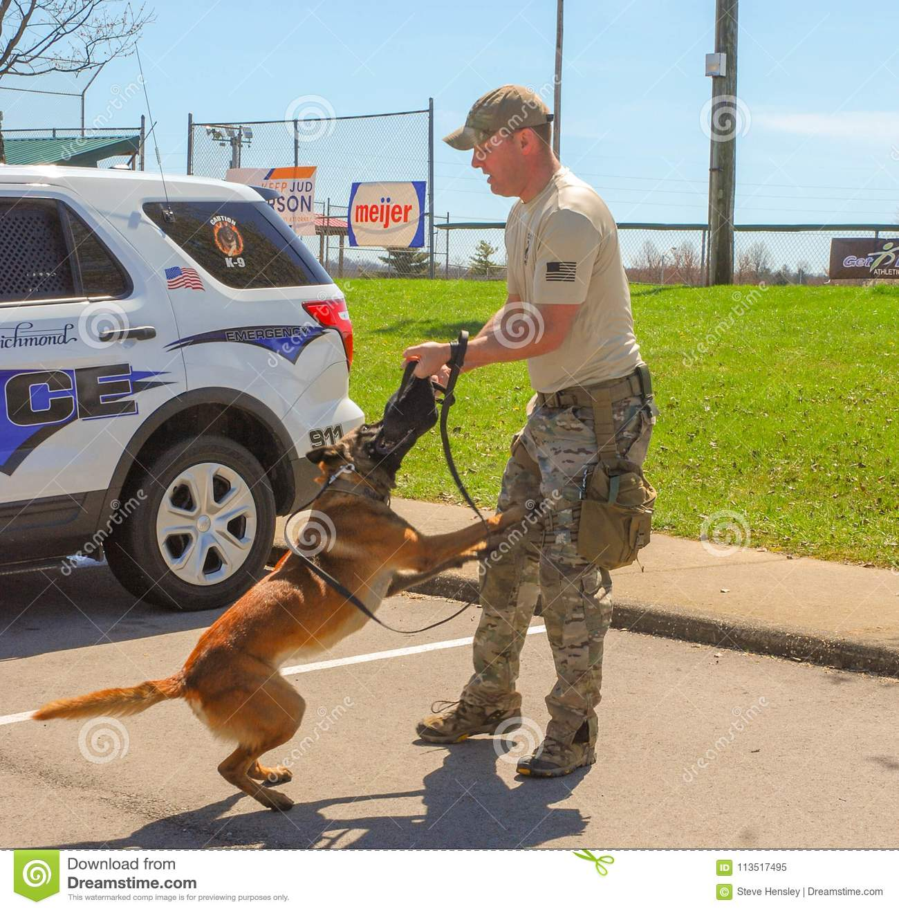 Richmond, KY US - March 31, 2018 - Easter Eggstravaganza A K9 Officer demonstrates canine techniques and training exercises