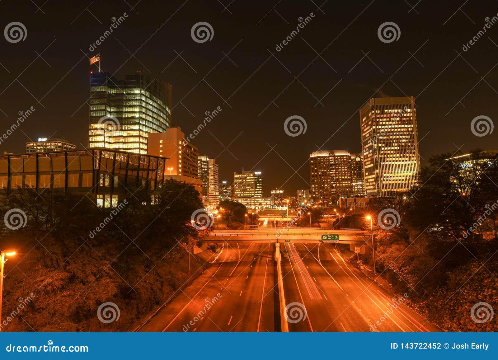 Richmond, Virginia at night looking downtown