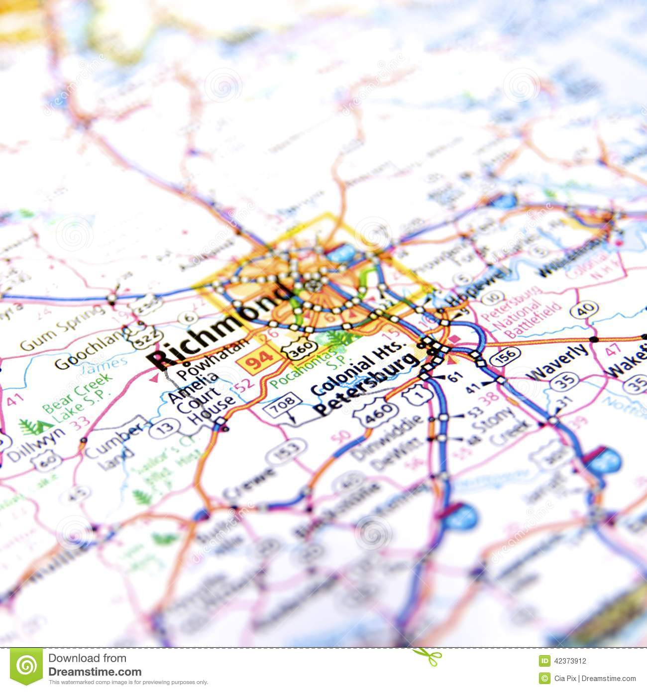 Richmond Virginia Road Map stock photo. Image of cities - 42373912