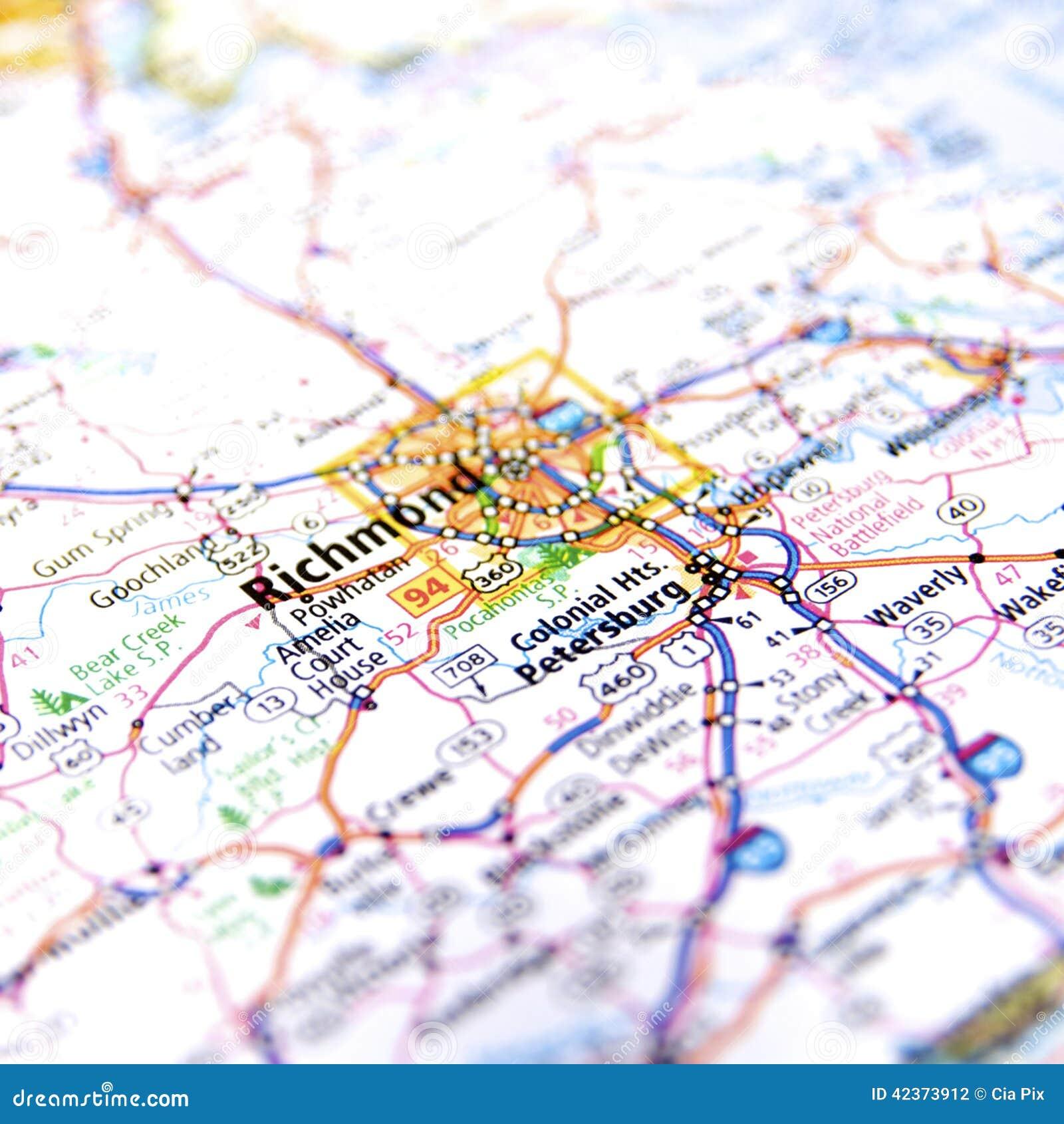 Richmond Virginia Road Map Stock Photo  Image 42373912