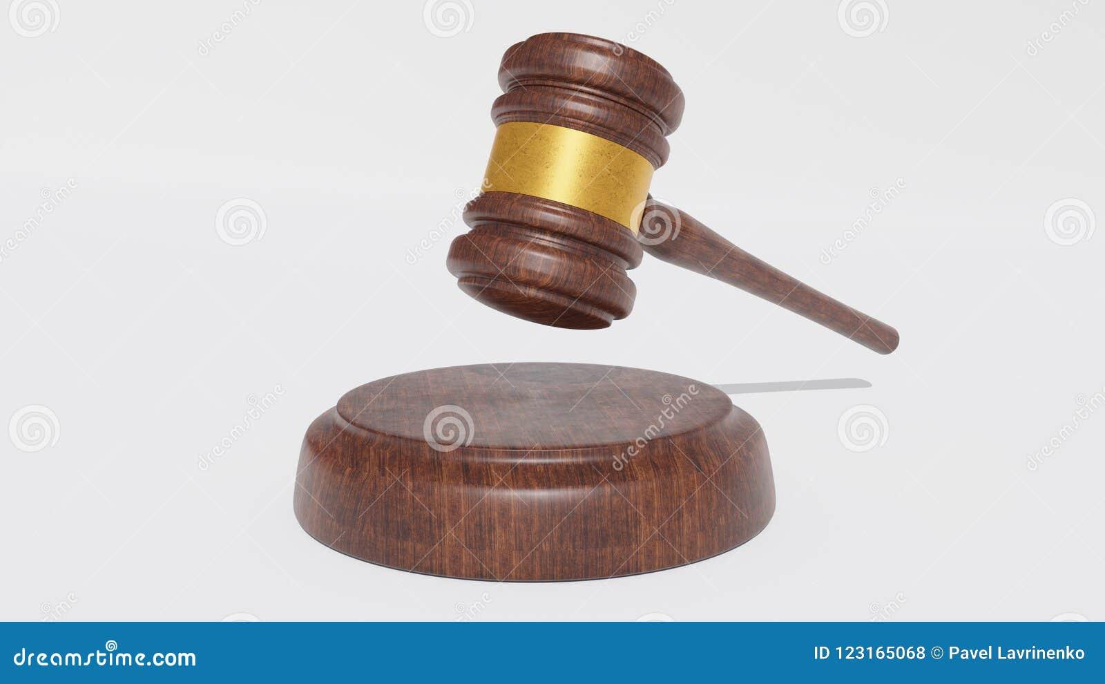 Richter Wood Hammer auf weißem Hintergrund Hammer 3d render