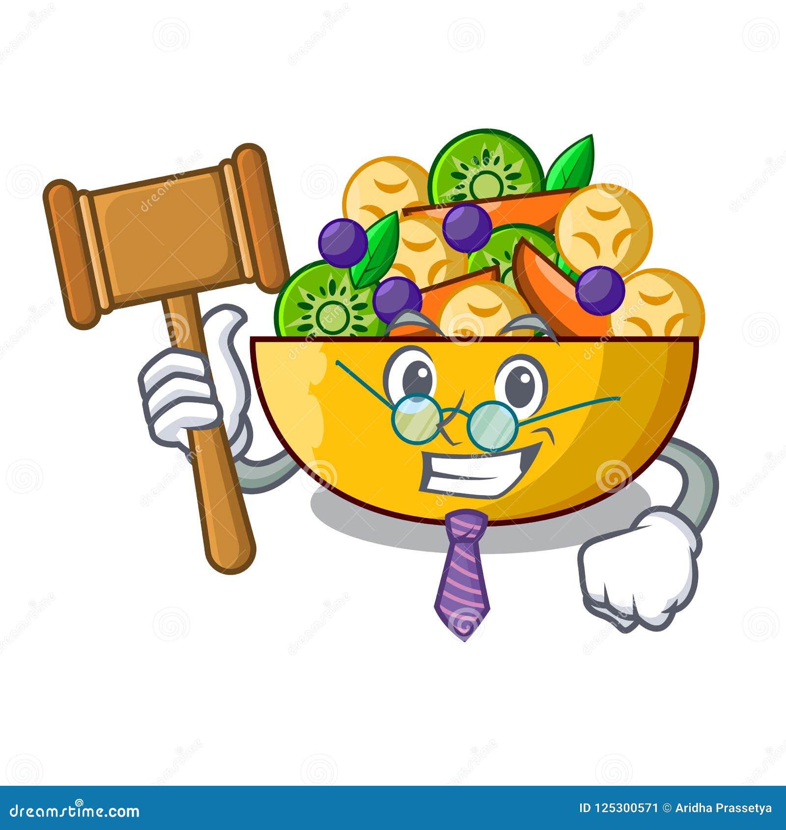 Richternachtisch des Fruchtsalates auf Karikatur