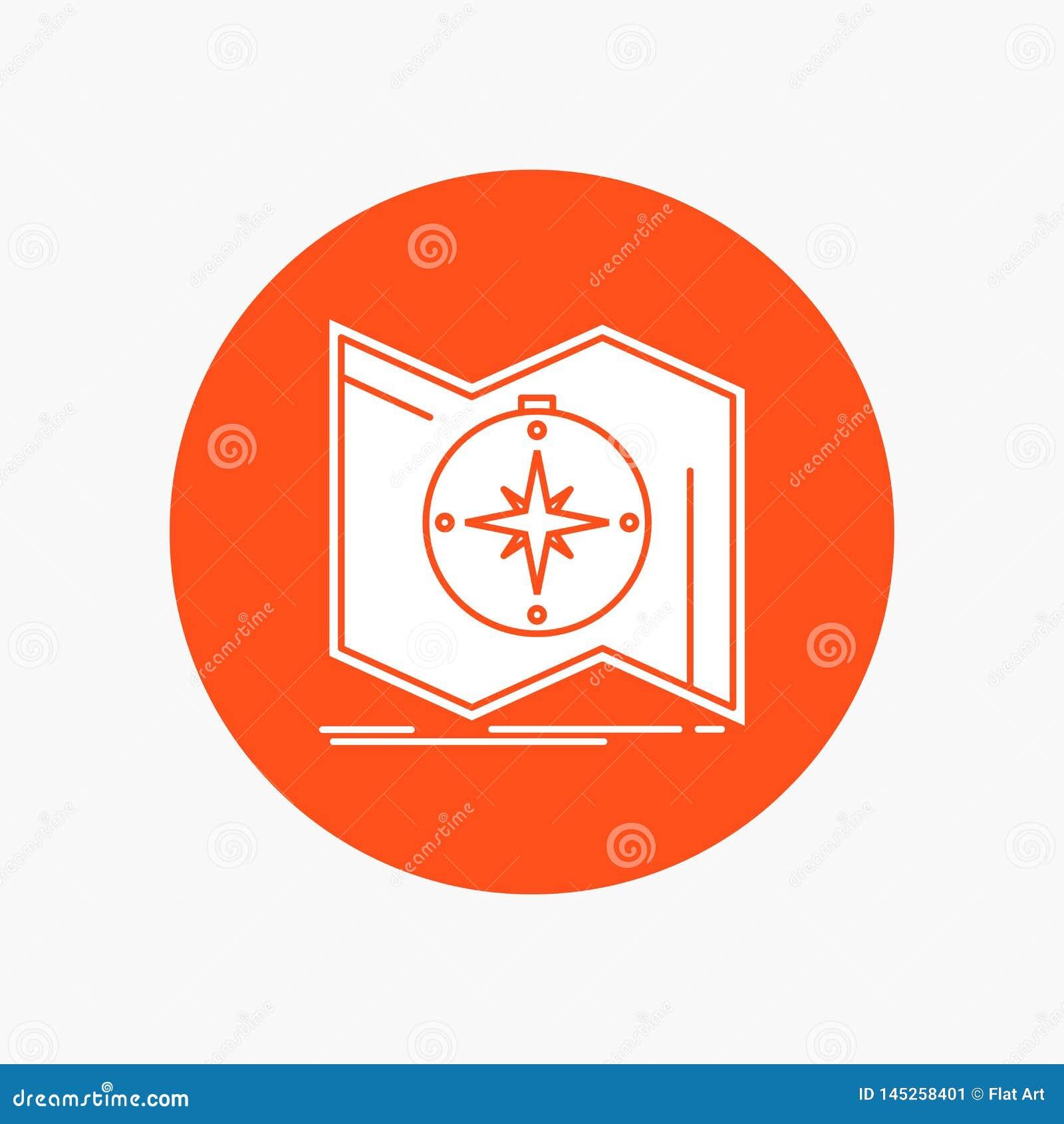 Richtung, erforschen, zeichnen auf, steuern, Navigation weiße Glyph-Ikone im Kreis Vektor-Knopfillustration