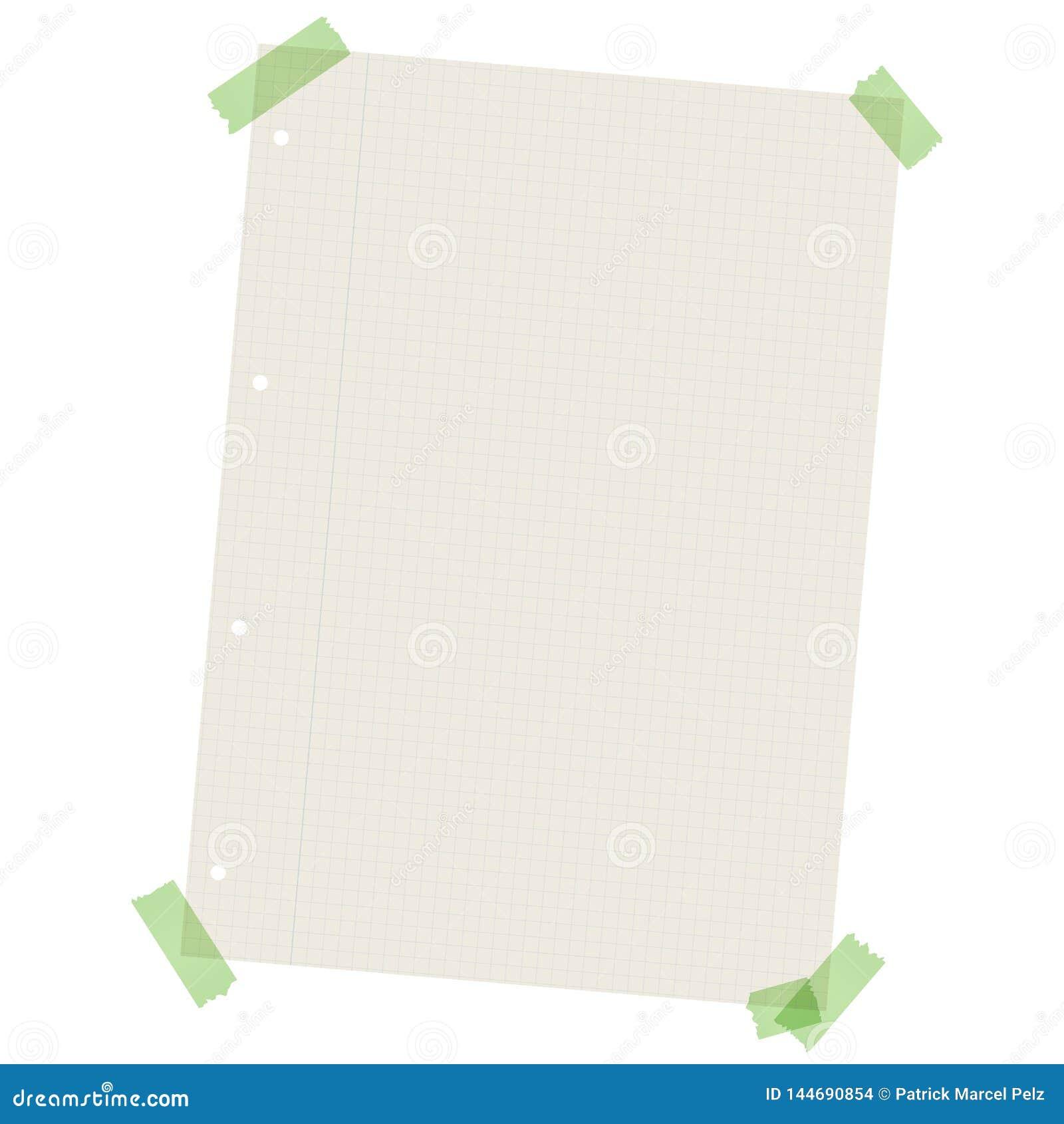 Riciclando carta a quadretti con nastro adesivo colorato