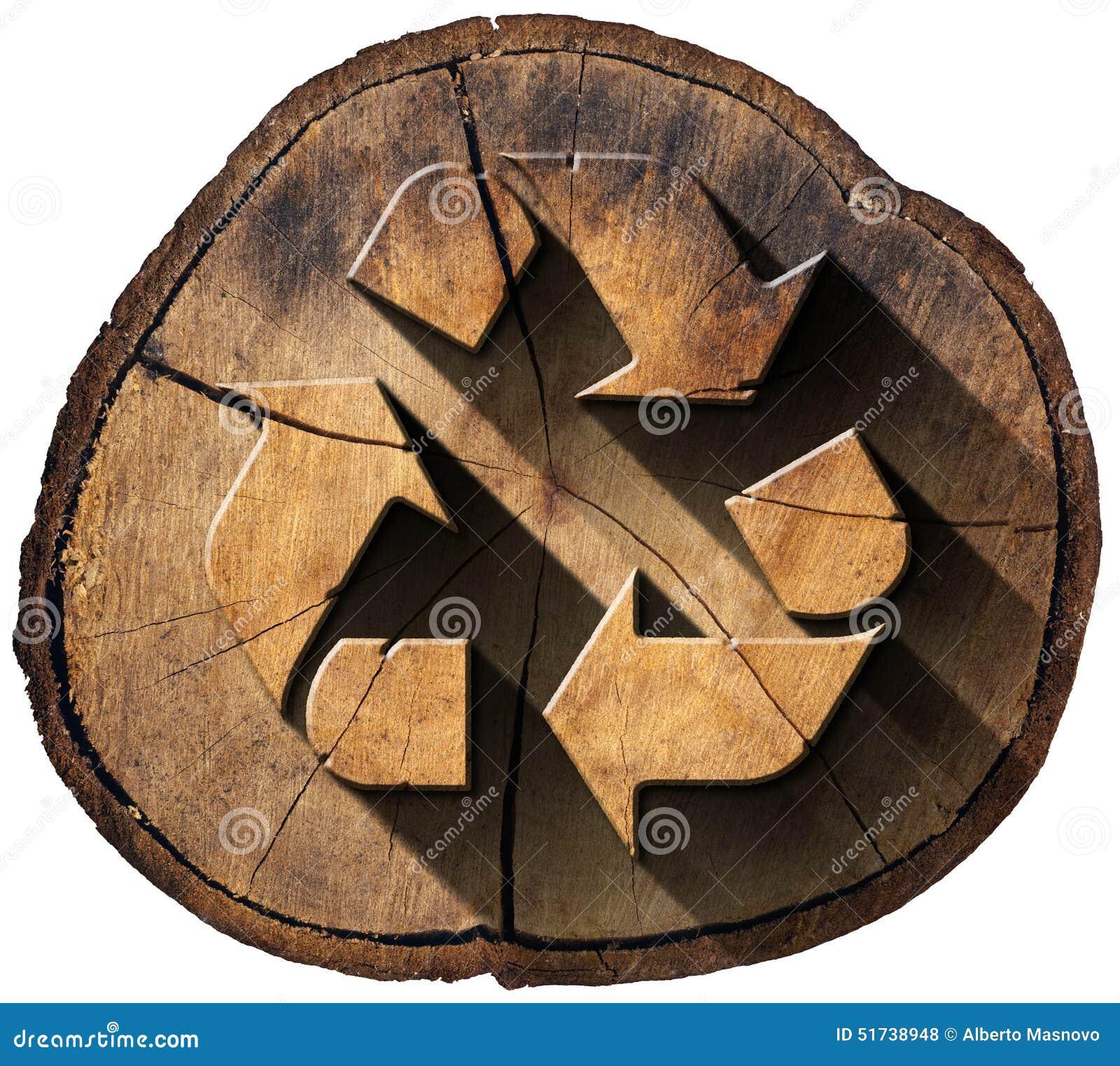 Ricicli Il Simbolo Sul Tronco Di Albero Illustrazione Di Stock