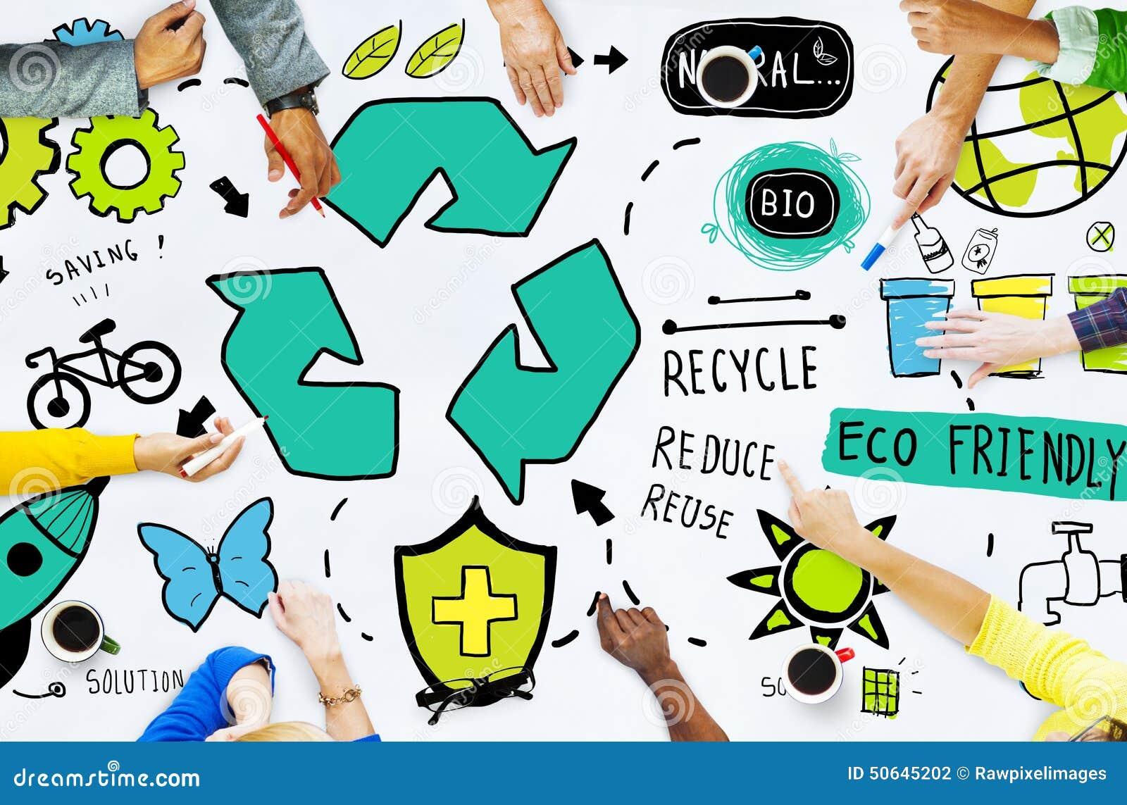 Ricicli la riutilizzazione riducono il bio- concetto amichevole dell ambiente di Eco