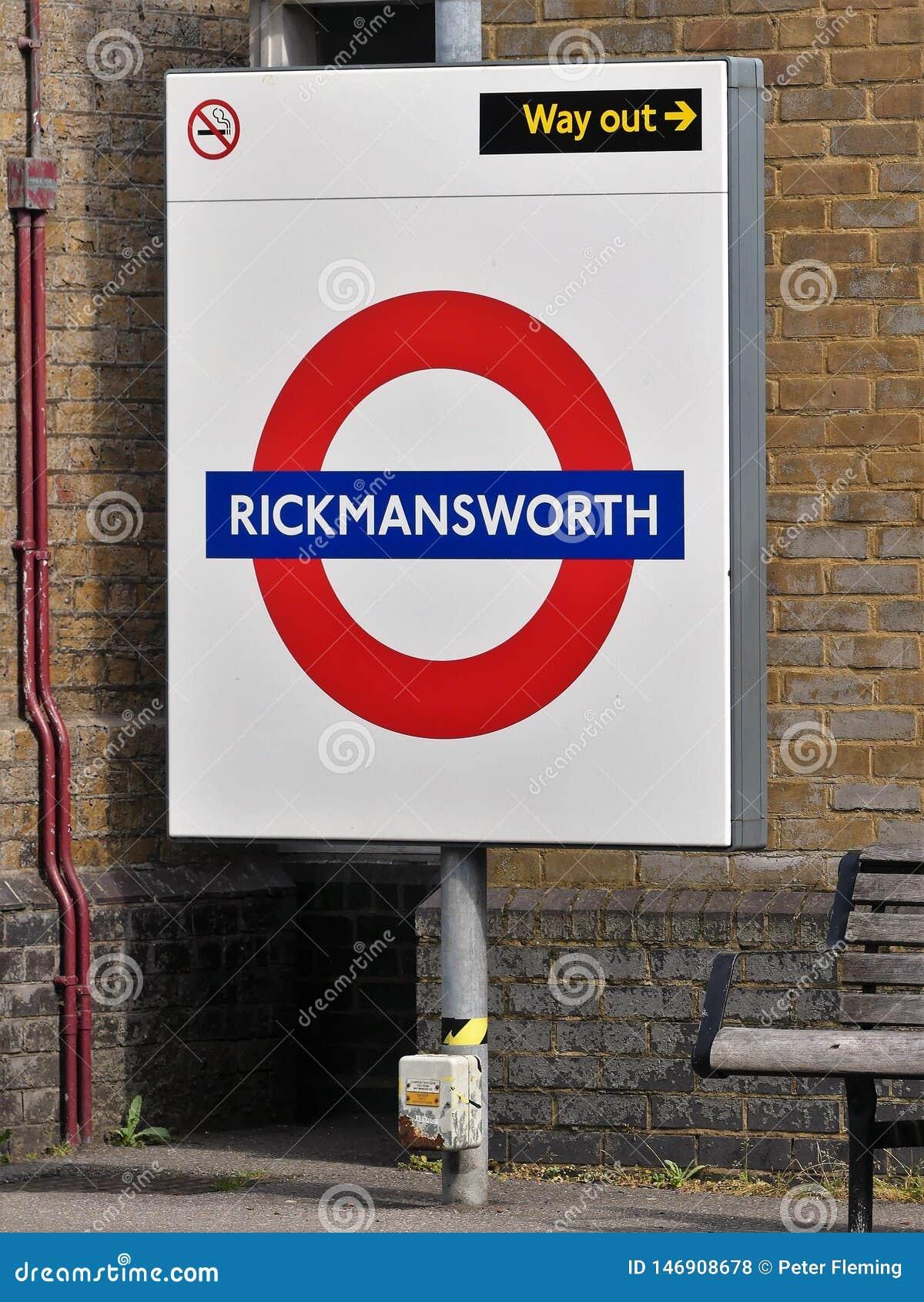 Rickmansworth London Underground Metropolitan railway sign