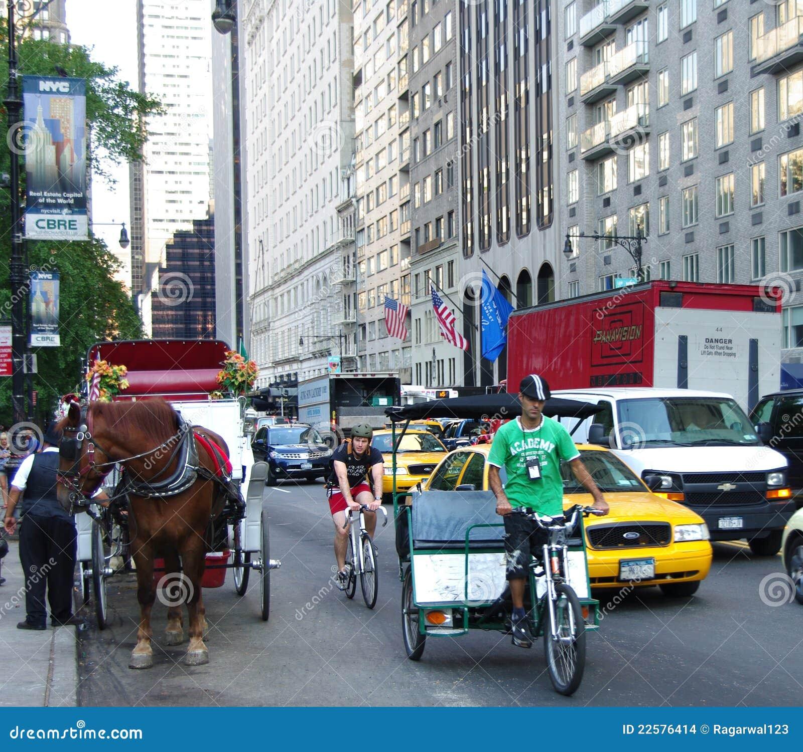 Rickshaw york för cirkulering för cabsvagnsstad ny