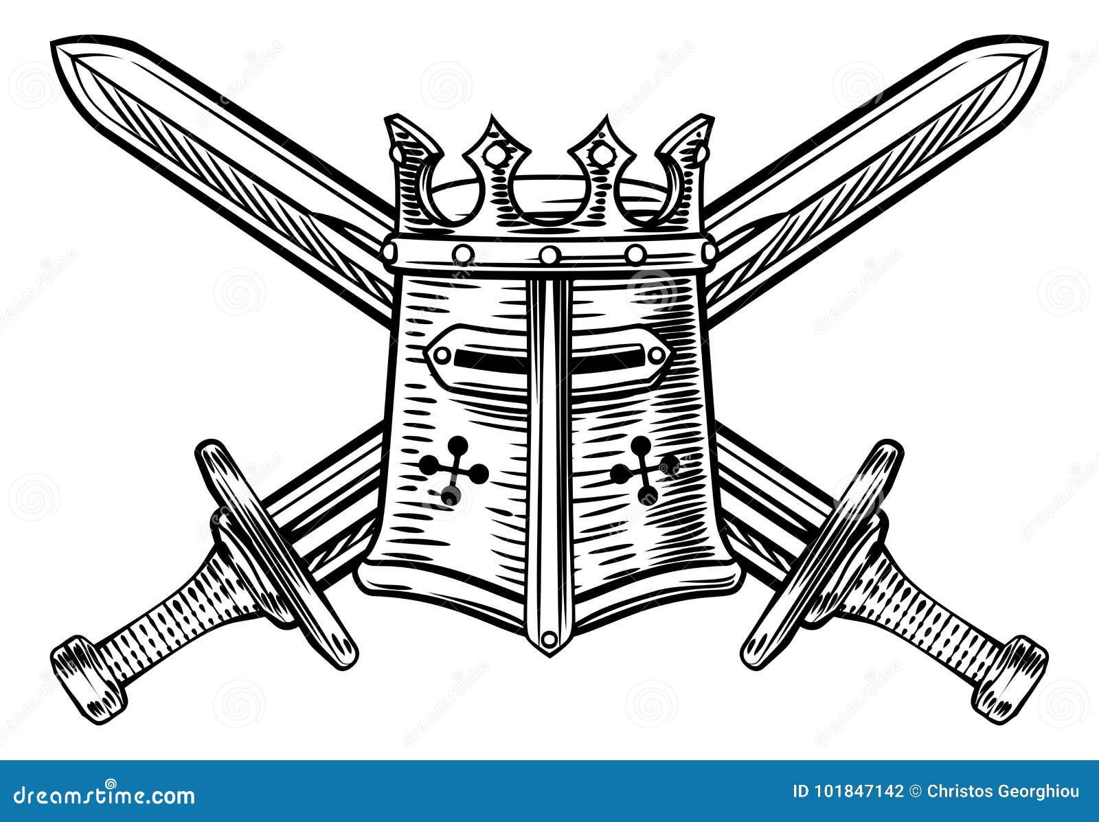 Riddare Helmet och korsad svärdillustration
