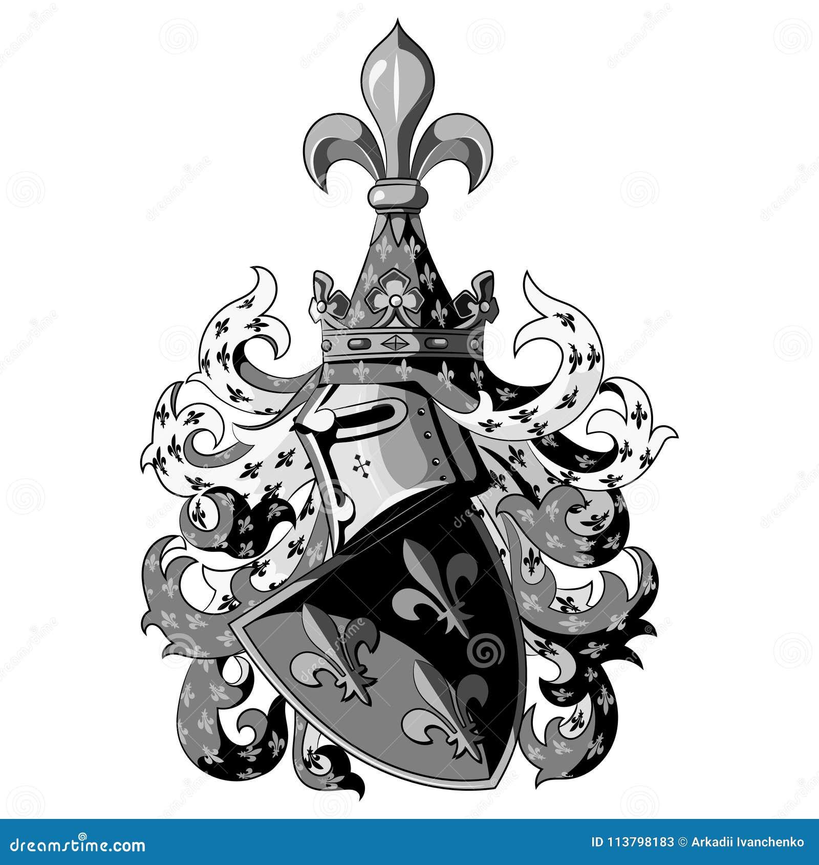 Ridderlig vapensköld Heraldisk medeltida riddarehjälm och sköld