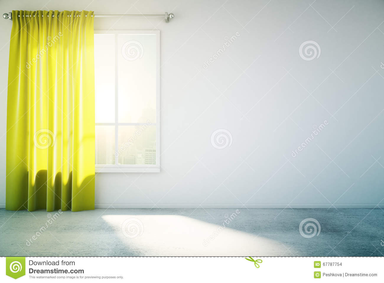 rideau blanc vide en jaune de mur illustration stock image 67787754. Black Bedroom Furniture Sets. Home Design Ideas