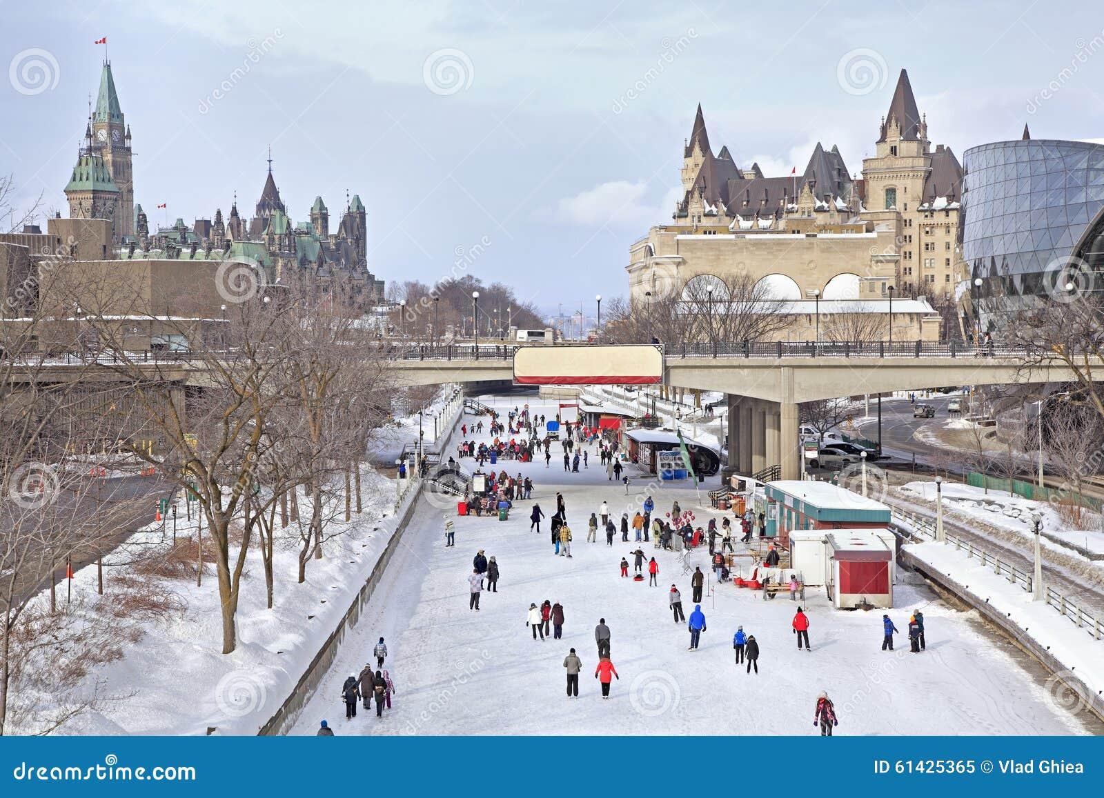 Rideau Canal skating rink in winter, Ottawa