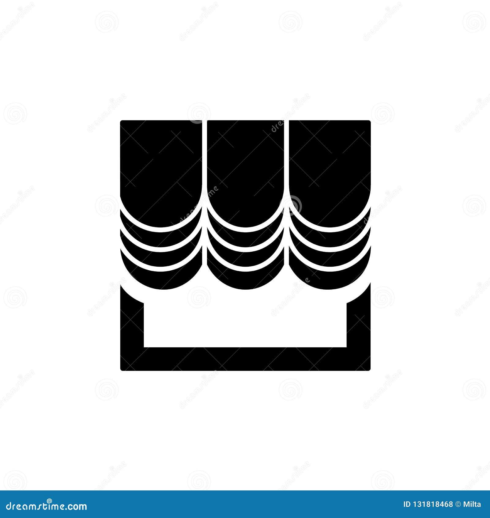 Rideau en tissu avec la draperie Illustration noire et blanche de vecteur