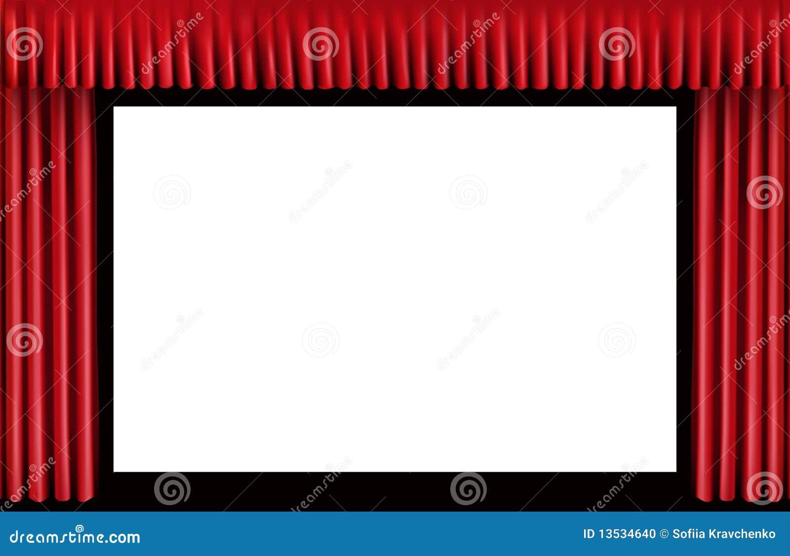 rideau rouge cran blanc de cin ma photo stock image 13534640. Black Bedroom Furniture Sets. Home Design Ideas