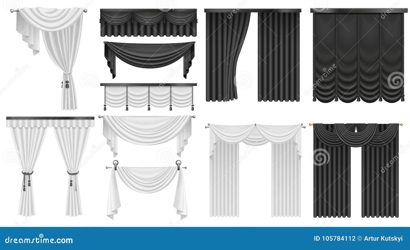 Rideaux en soie et rideaux en velours noir et blanc réglés Conception de luxe réaliste intérieure de décoration de rideaux