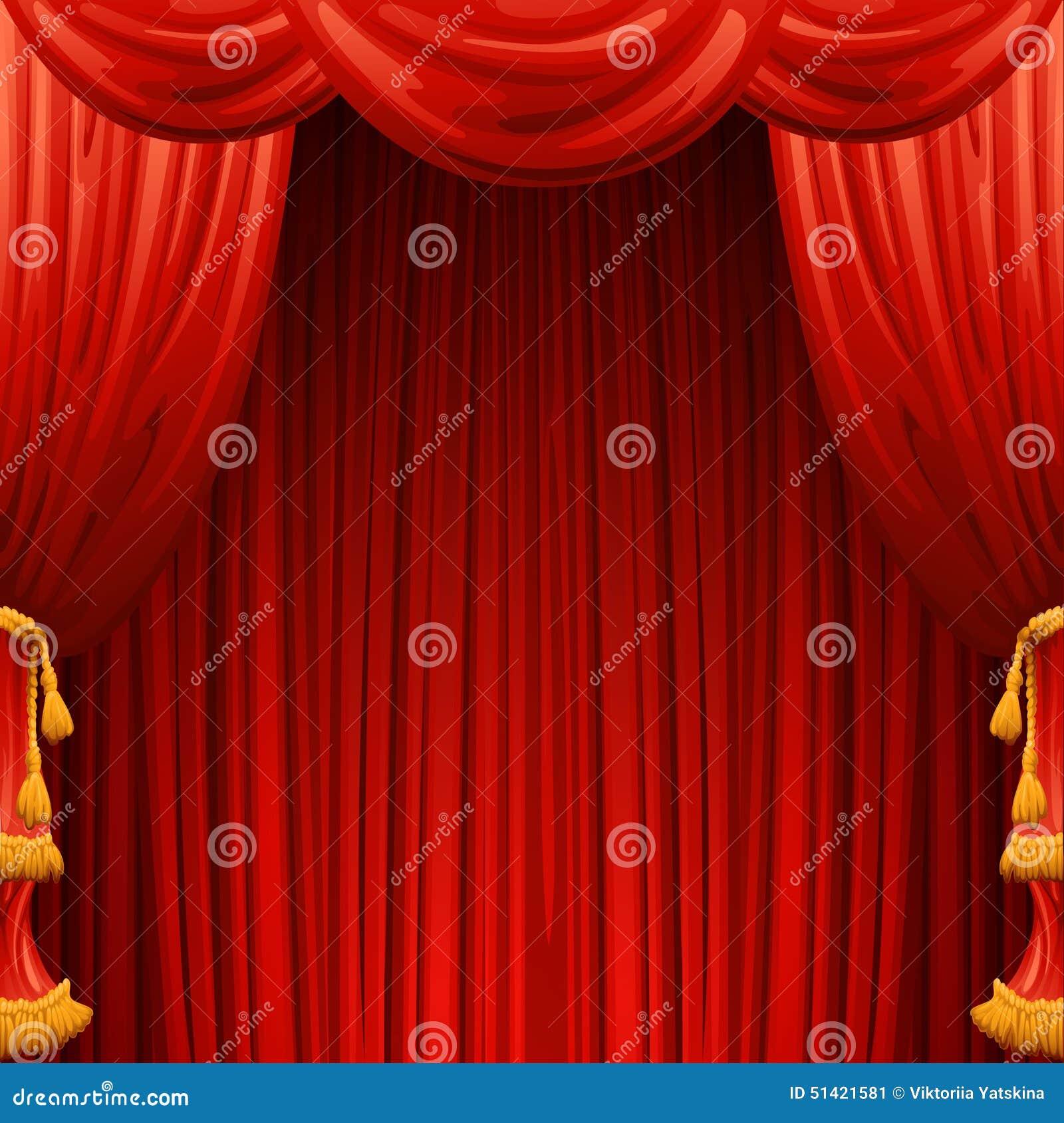 Rideaux Rouges Scène De Théâtre Illustration De Vecteur Illustration ...
