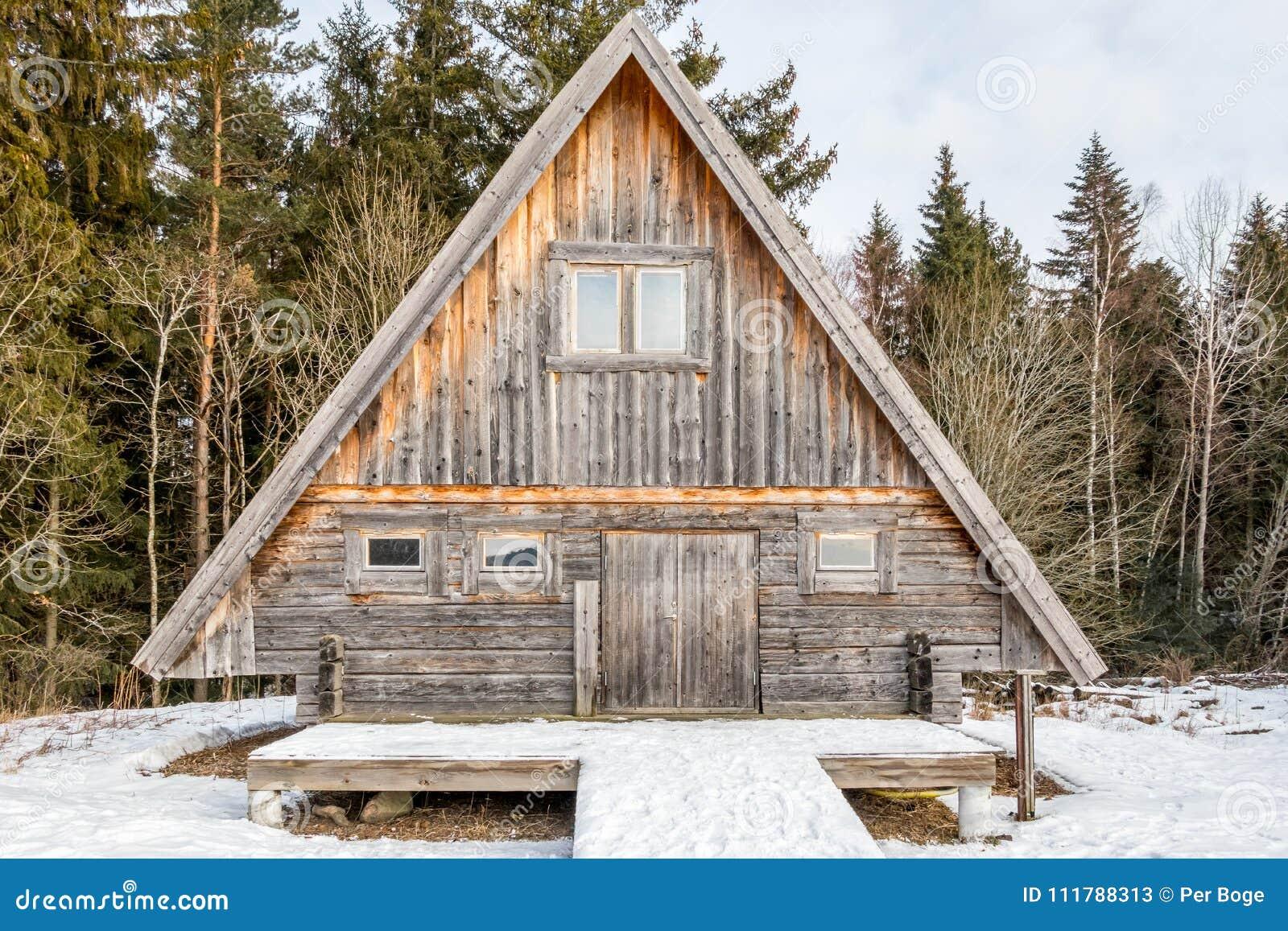 Riden ut och åldras journalkabin som omges av träd och snö