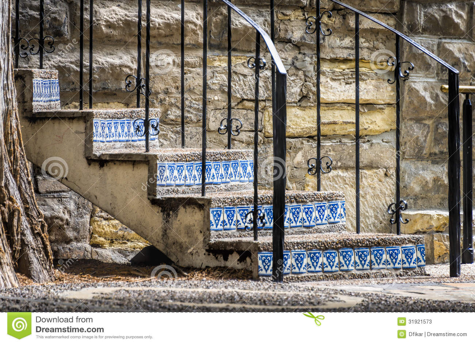 Riden ut trappa på Sanen Antonio Riverwalk