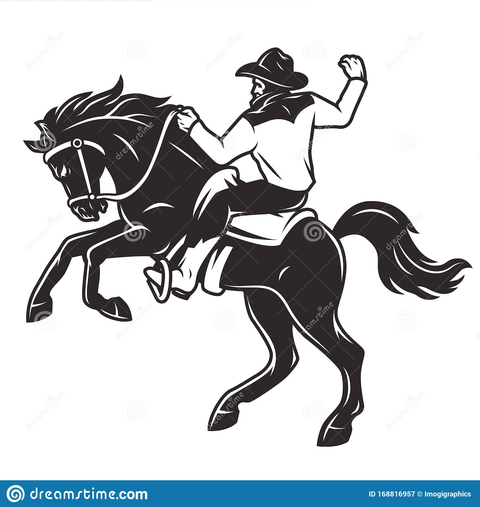Rider In Cowboy Hat Riding Horse Stock Vector Illustration Of Isolated Vintage 168816957