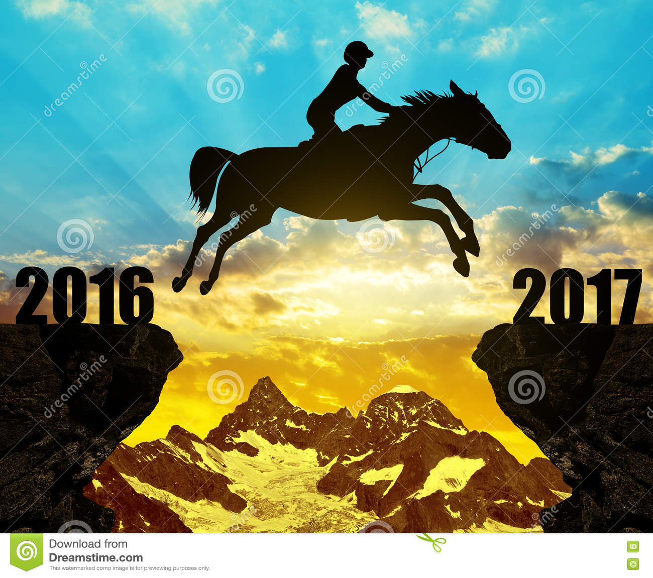 The Rider On The Horse Jumping Into The New Year 2017 ...