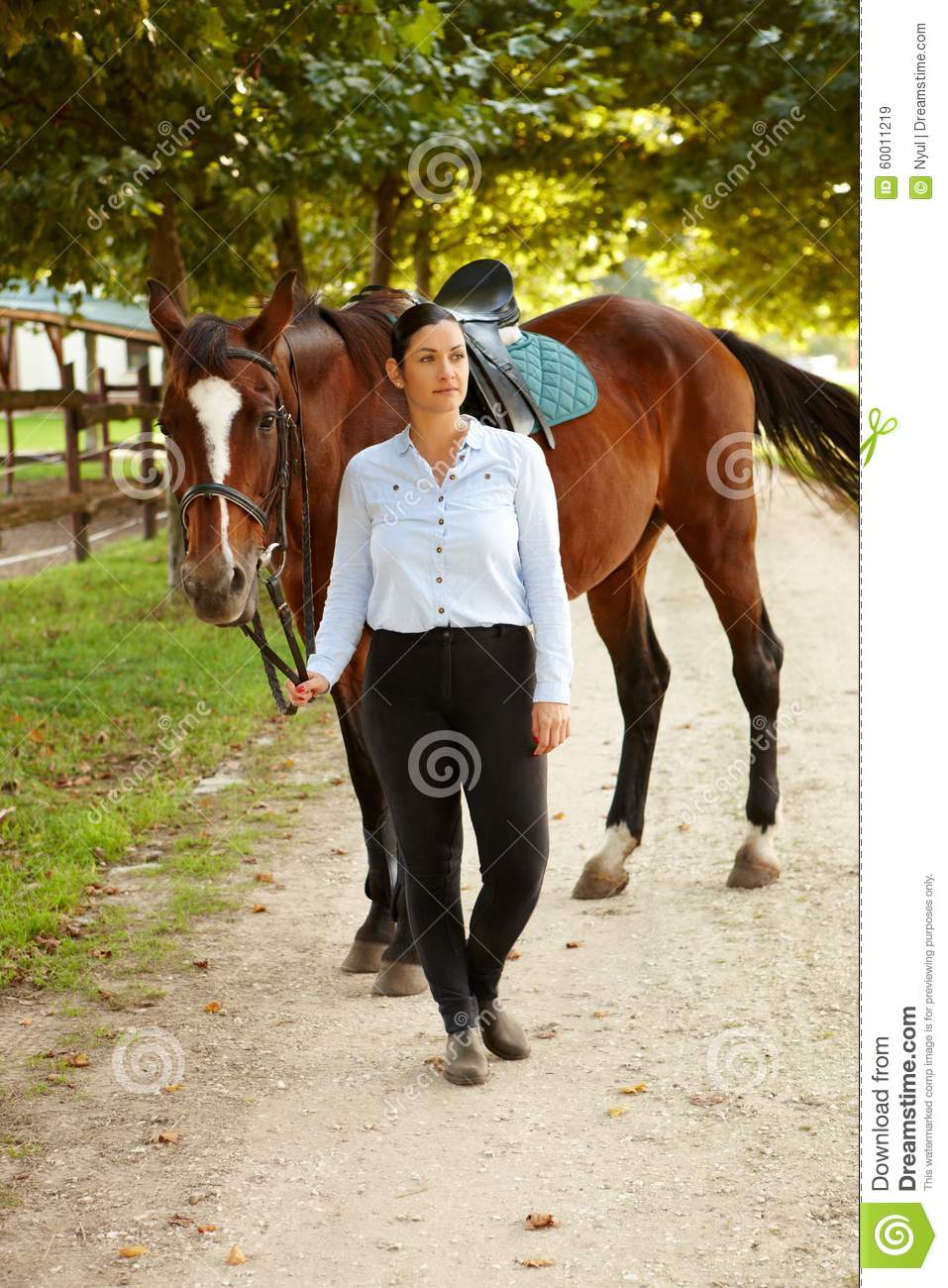 Rider and horse outdoors