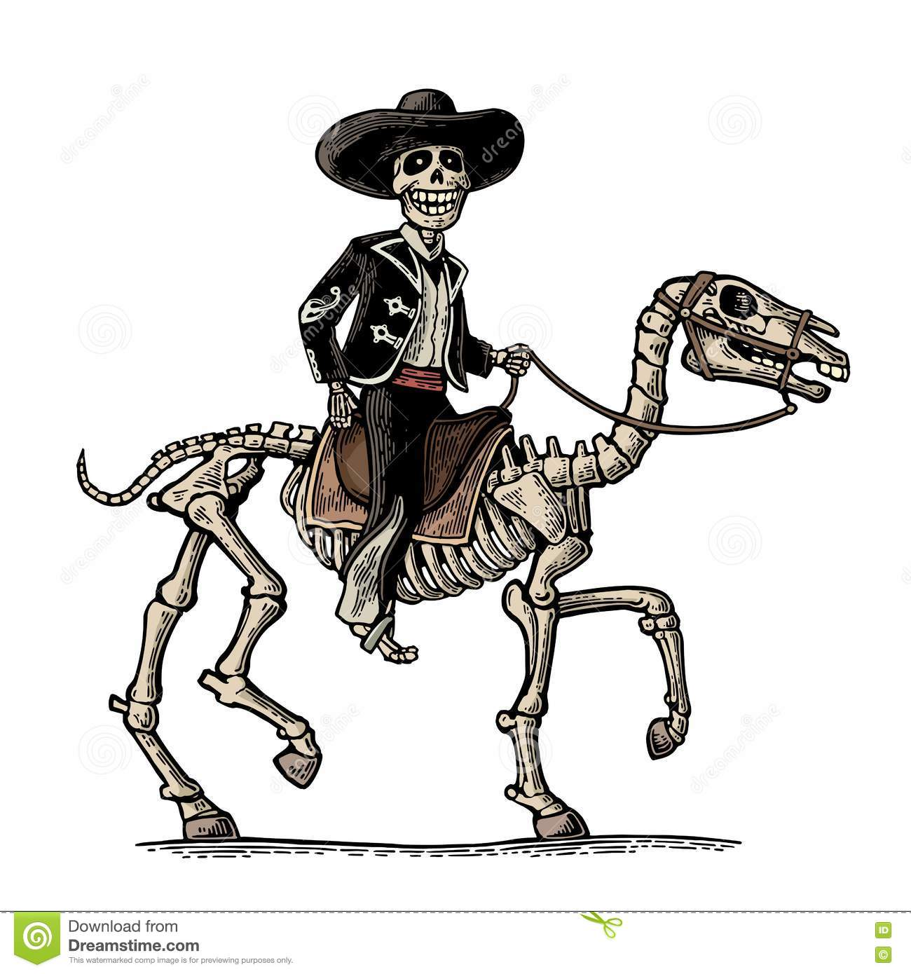 8cc6e23a6be69 The rider in the Mexican man national costumes galloping on skeleton horse.