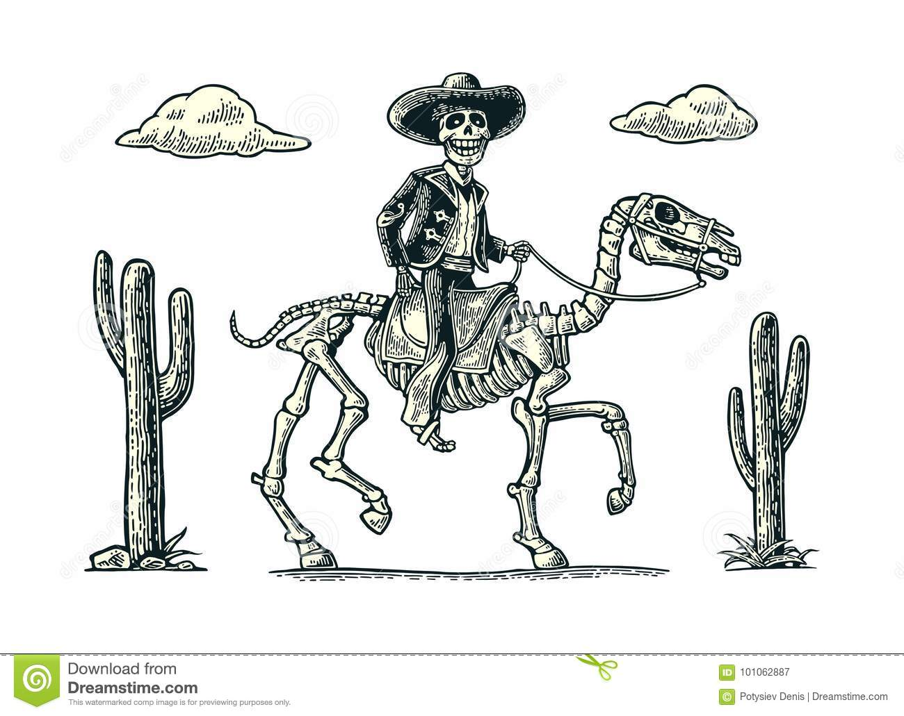 The Rider In The Mexican Man National Costumes Galloping On Skeleton Horse Stock Vector Illustration Of Suit Muertos 101062887