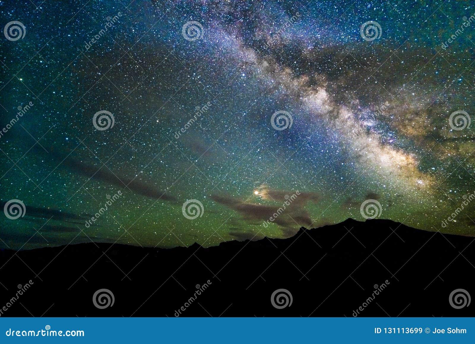 RIDGWAY ΚΟΛΟΡΑΝΤΟ, ΗΠΑ 2018 - γαλαξίας Milkyway πέρα από τα βουνά του San Juan, Ridgway Κολοράντο