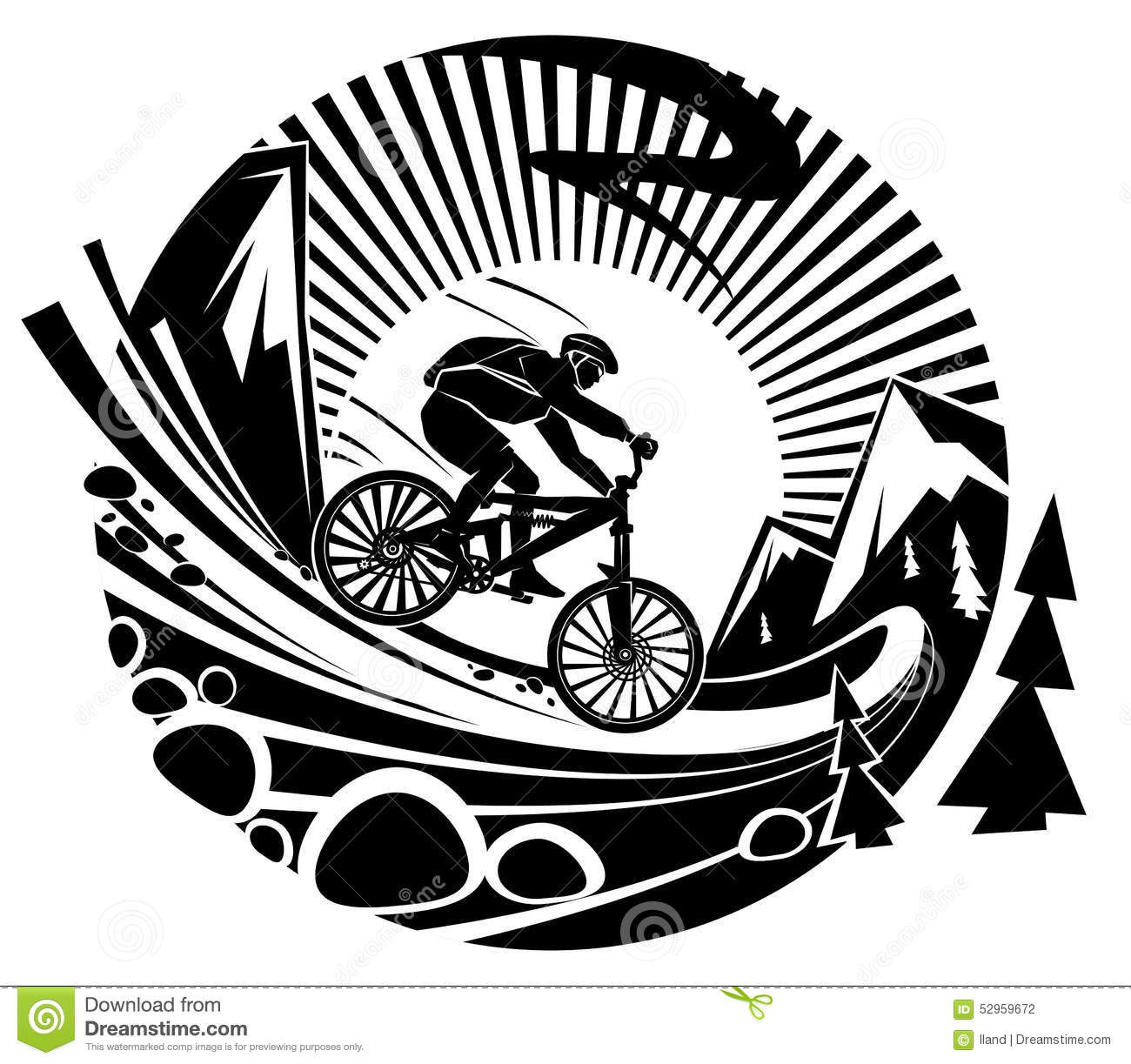Riding A Mountain Bike Stock Vector Illustration Of Discovery