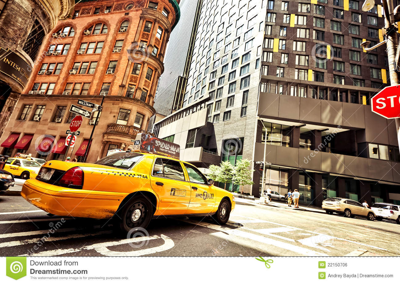 riding yellow taxi cab in new york editorial photo image 22150706. Black Bedroom Furniture Sets. Home Design Ideas